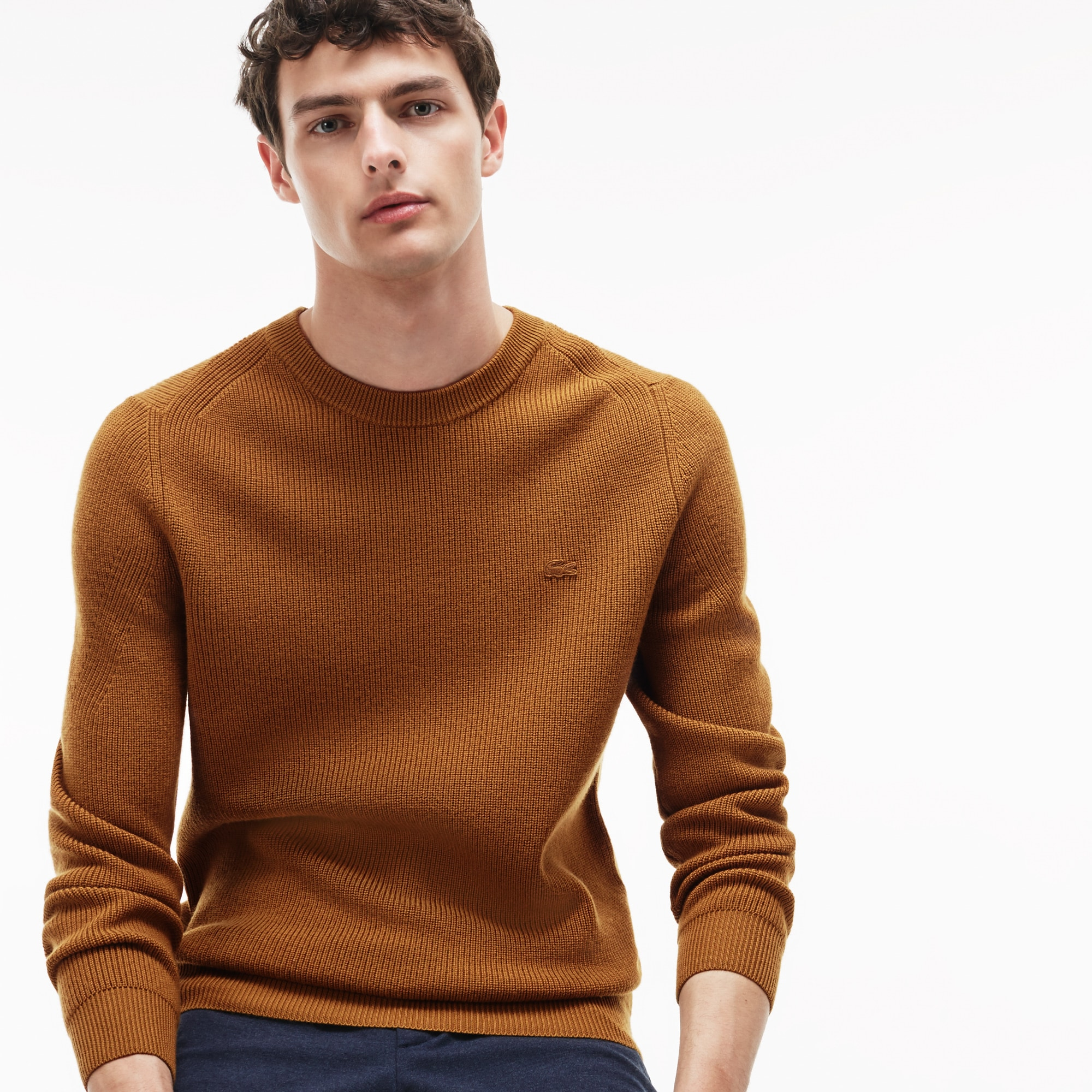 Men's Crew Neck Ribbed Wool Sweater