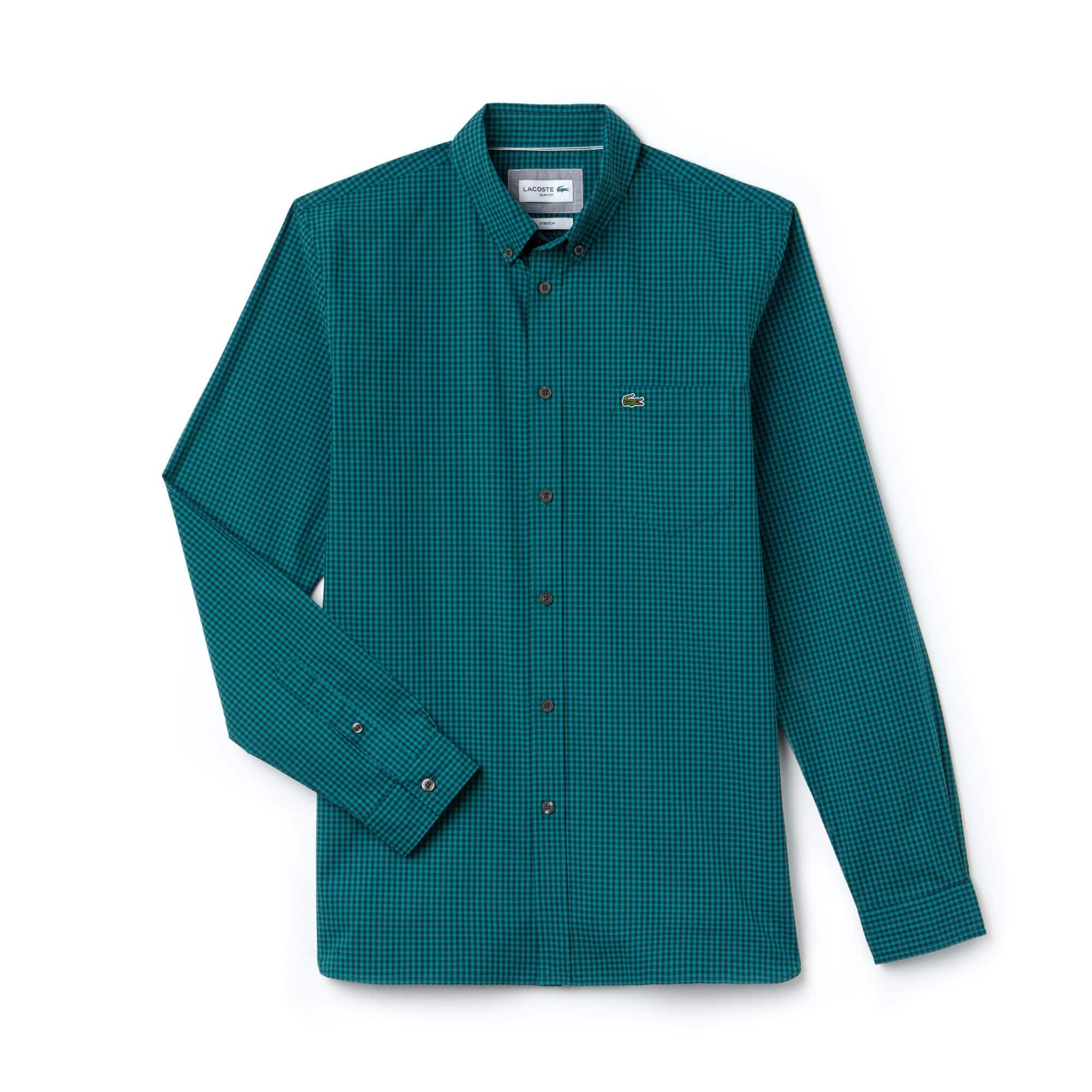 라코스테 Lacoste Mens Slim Fit Gingham Stretch Cotton Poplin Shirt,green / green