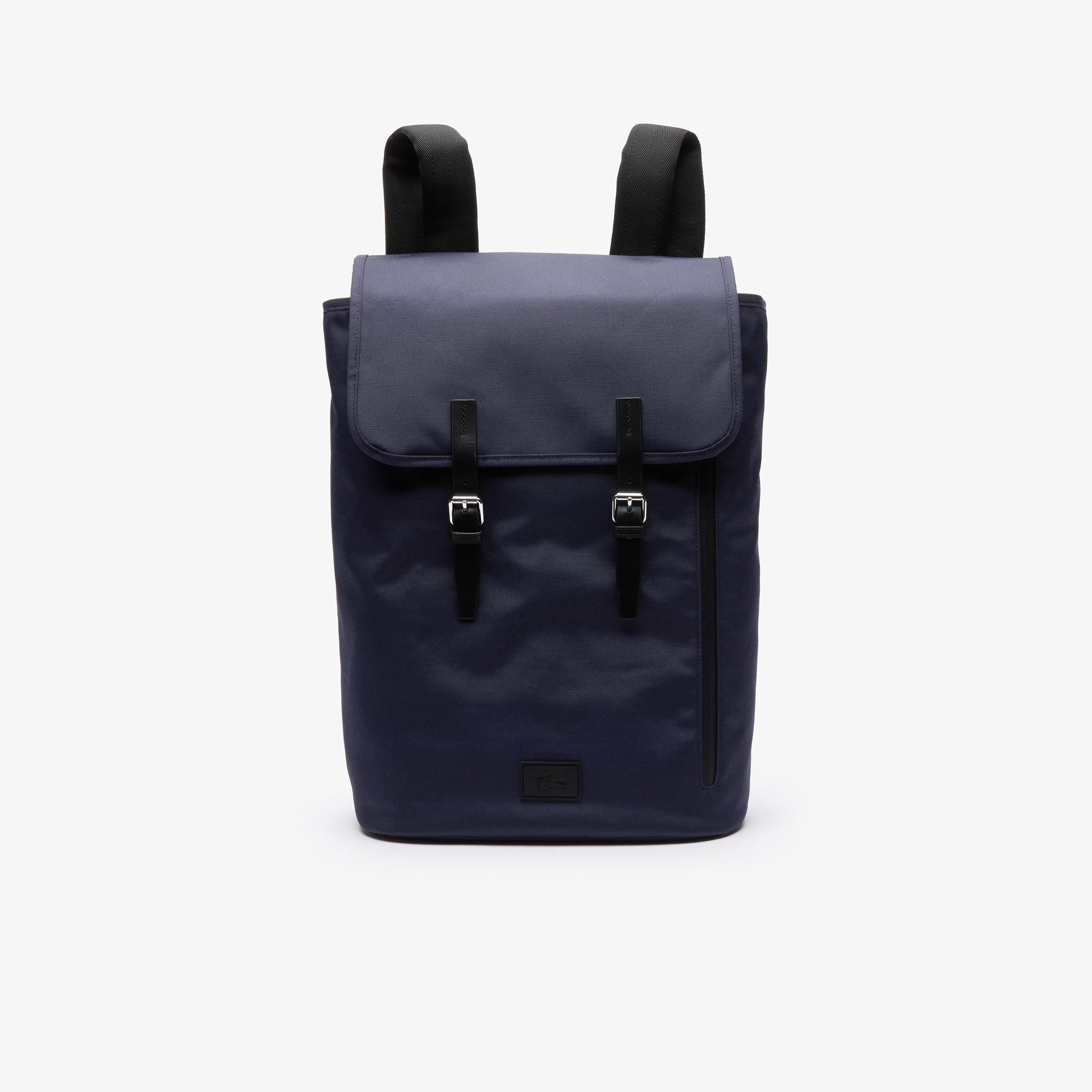 라코스테 말로 컴퓨터 백 Lacoste Mens Malo Leather Accent Backpack,BLACK IRIS BLACK