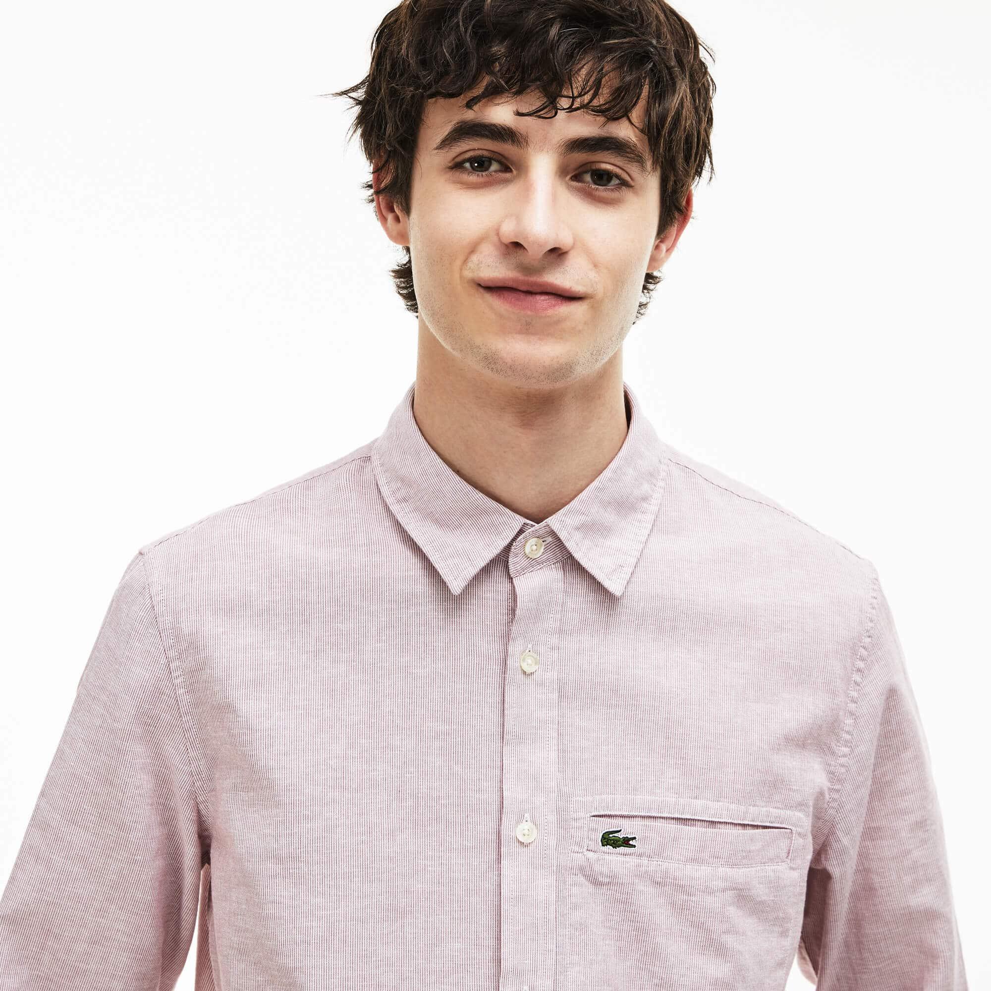 Men's Regular Fit Poplin And Linen Shirt