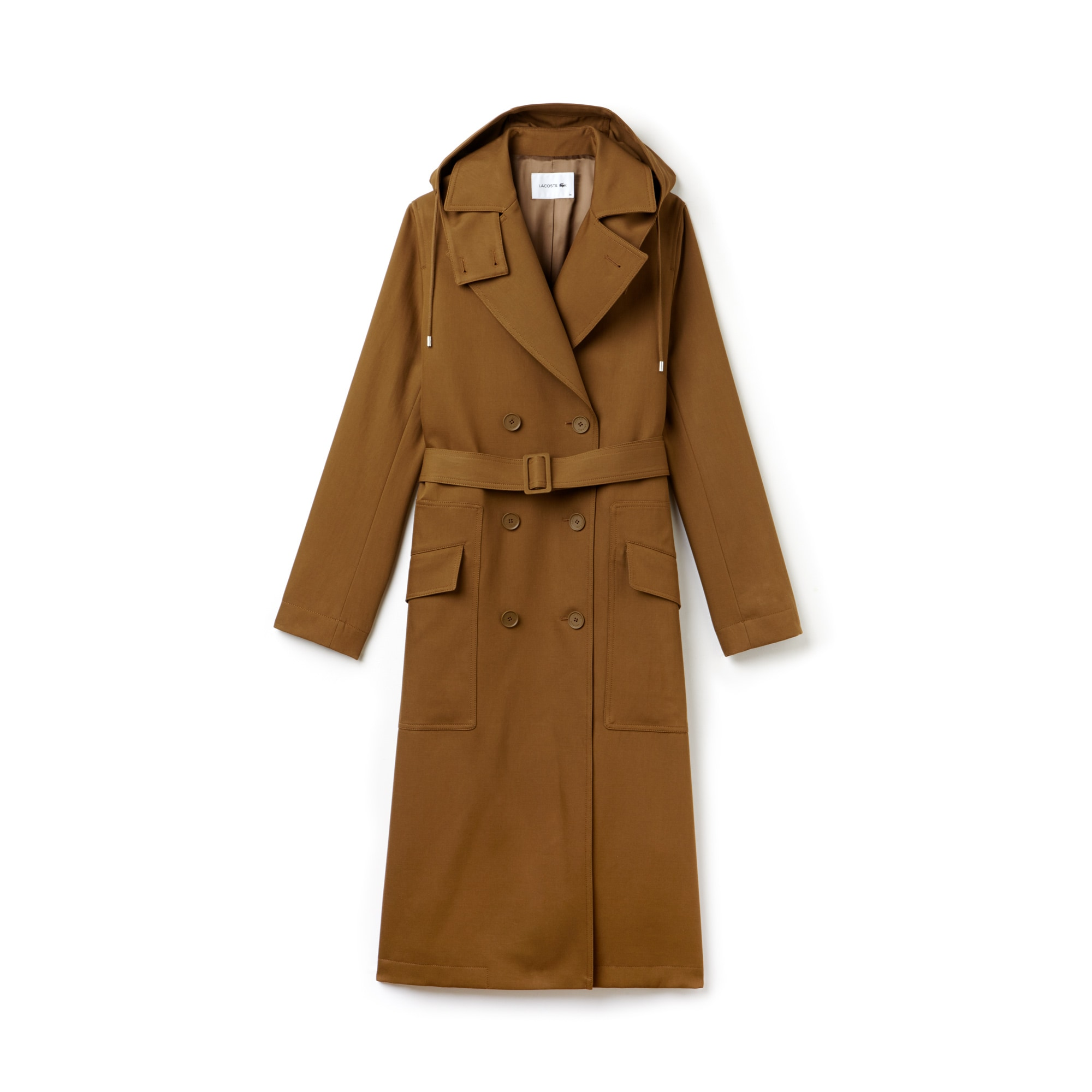 Women's Detachable Hood Gabardine Wraparound Trench Coat