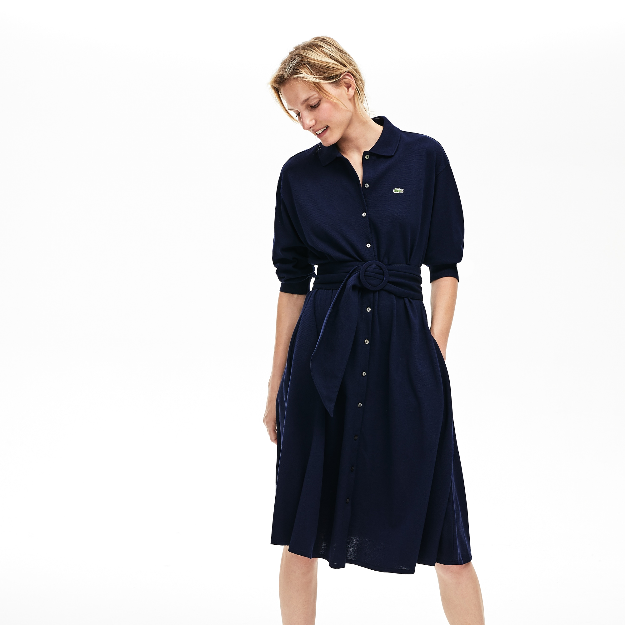 Women's Belted Cotton Petit Piqué Polo Dress