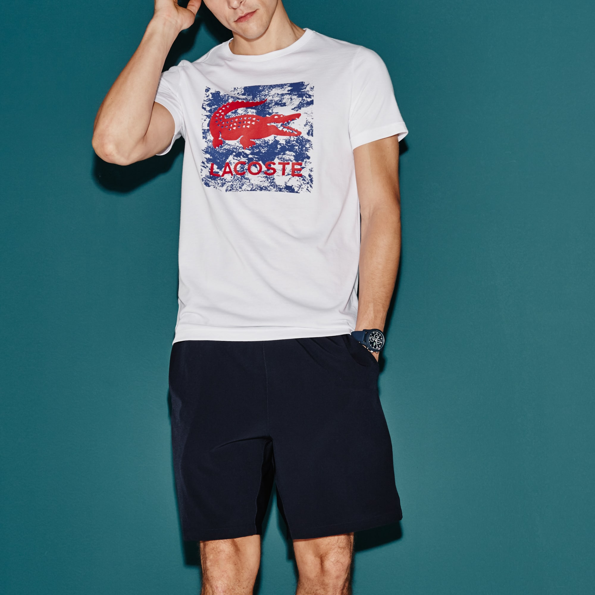 Men's  SPORT Tennis Print Technical Jersey T-shirt