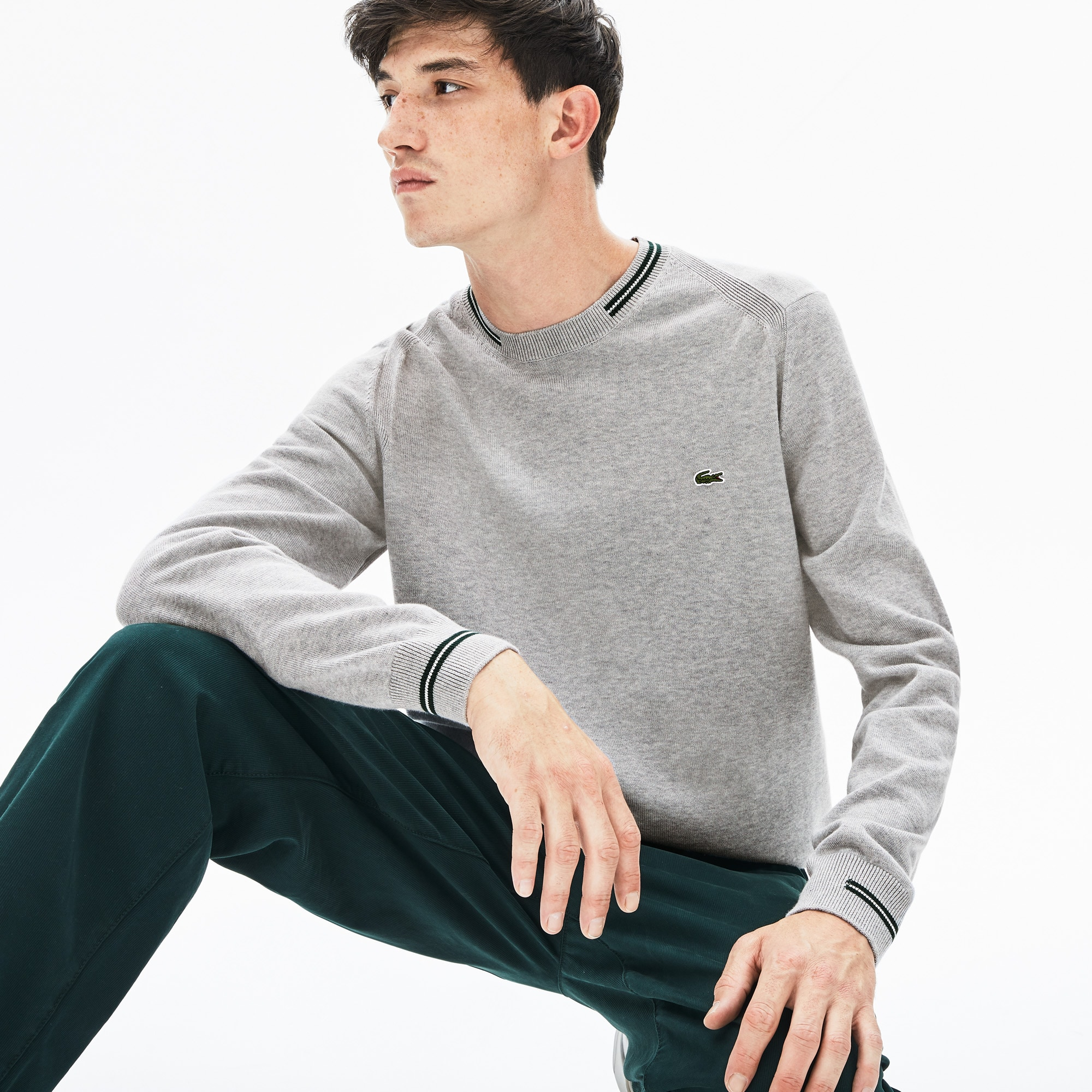 Lacoste Jeans Men's Crewneck Mixed Stich And Striped Cotton Sweater