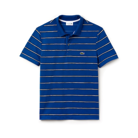 라코스테 Lacoste Mens Regular Fit Striped Mini Pique Polo,Blue / Blue / White - MES (Selected colour)