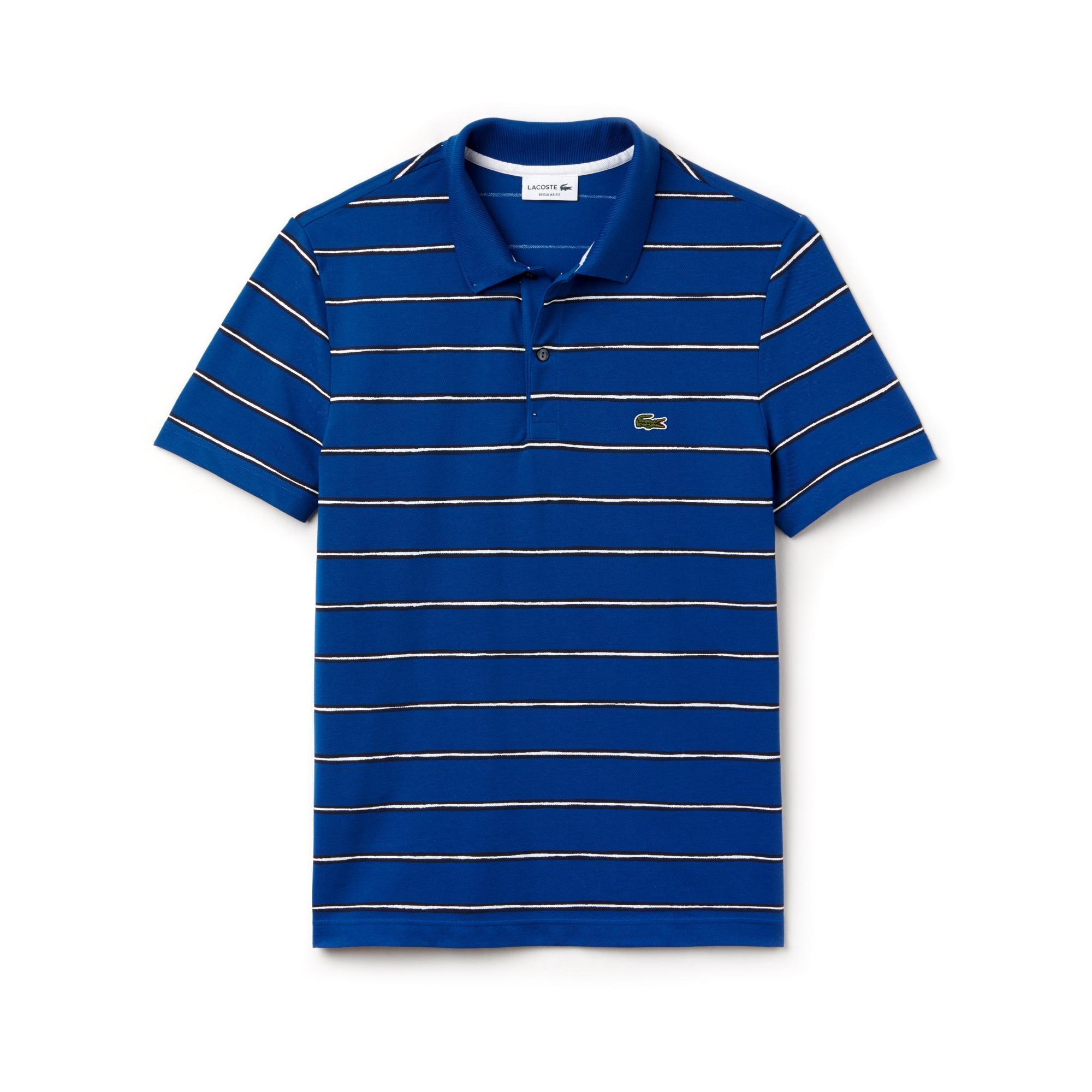 Men's Regular Fit Striped Mini Piqué Polo