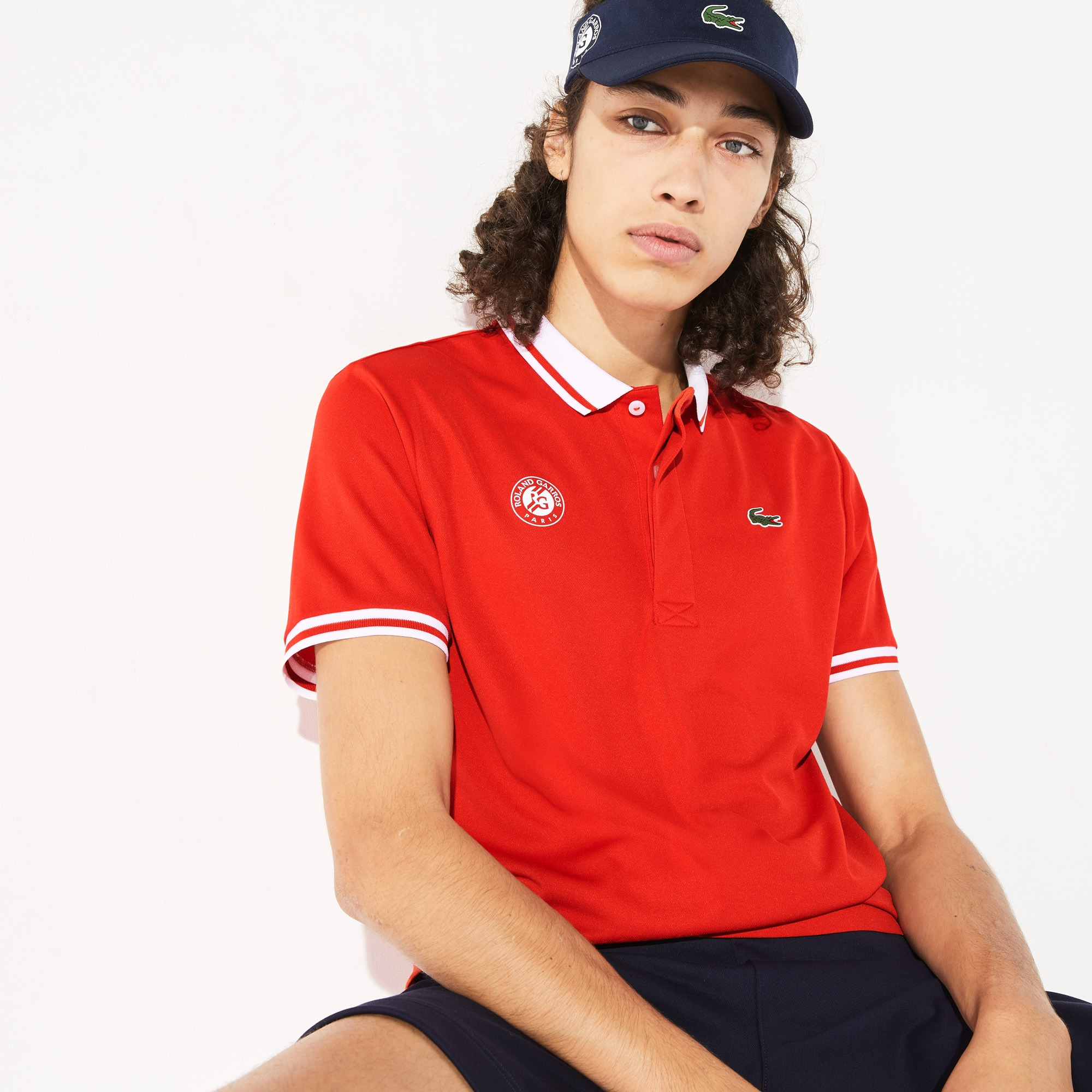 라코스테 스포츠 롤랑가로스 셔츠 Lacoste Mens SPORT Roland Garros Breathable Pique Polo Shirt,Red / White / Green • YMF