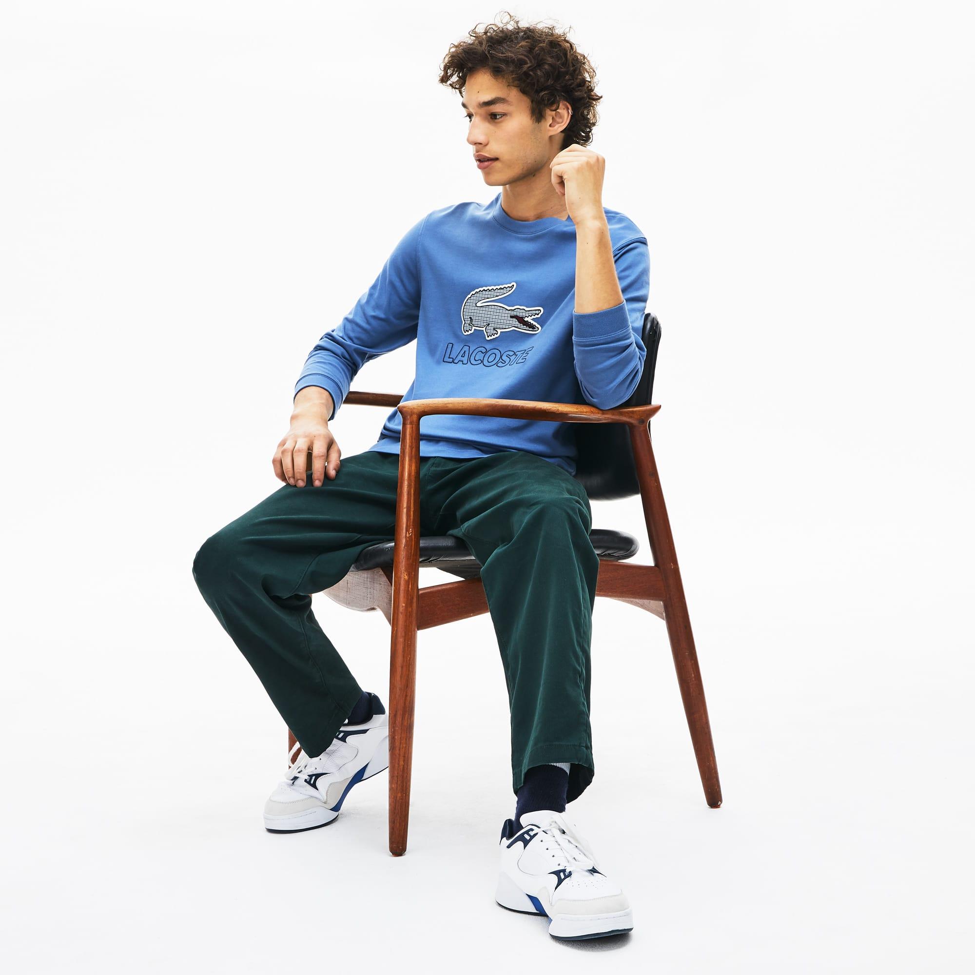Lacoste Tops Men's Oversized Checkered-Logo Cotton T-Shirt