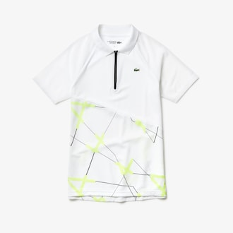 라코스테 스포츠 우먼 폴로 셔츠 Lacoste Womens SPORT Geometric Print Breathable Tennis Polo,White / Flashy Yellow / Black / Black