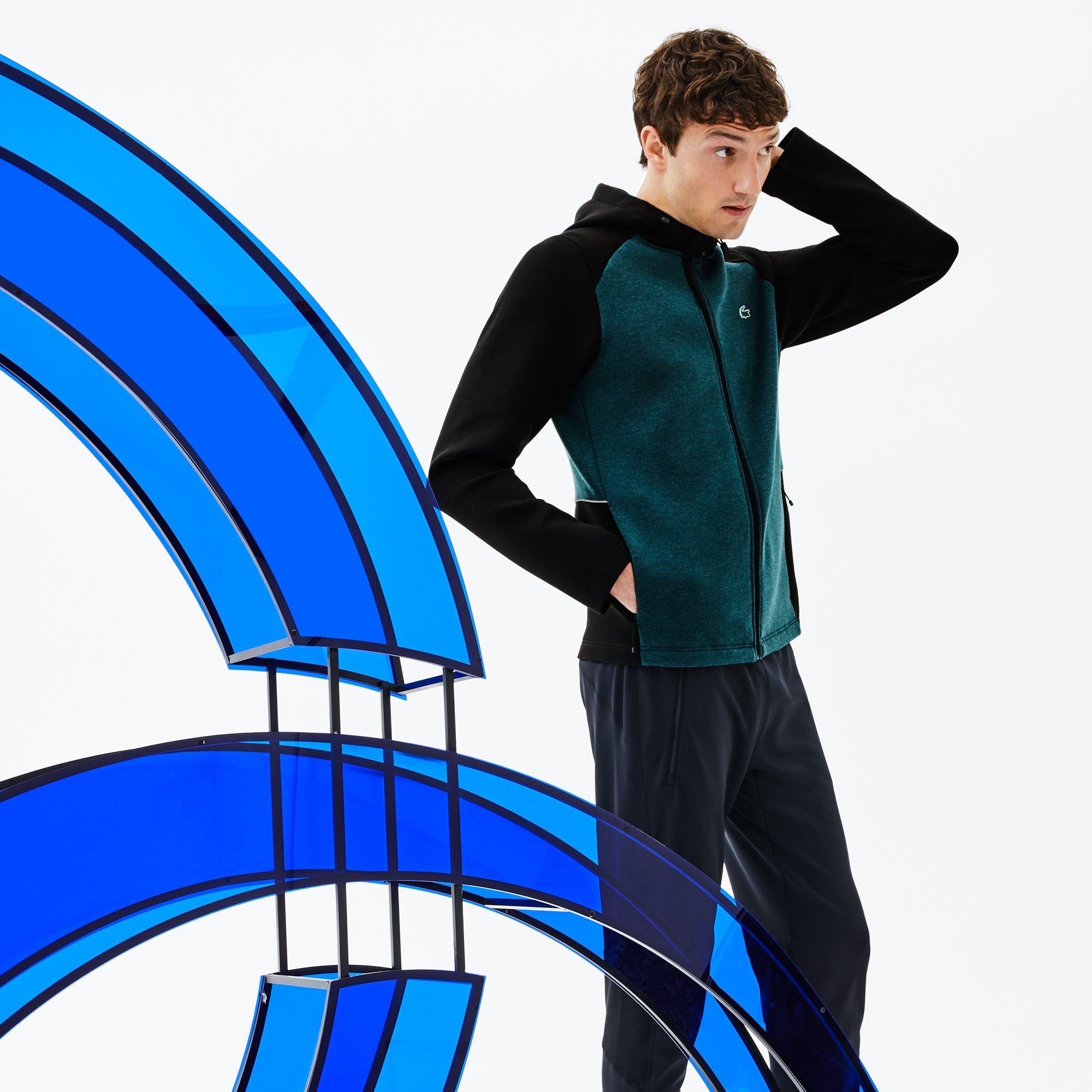 Sweatshirt zippé bicolore à capuche Lacoste SPORT x Novak Djokovic