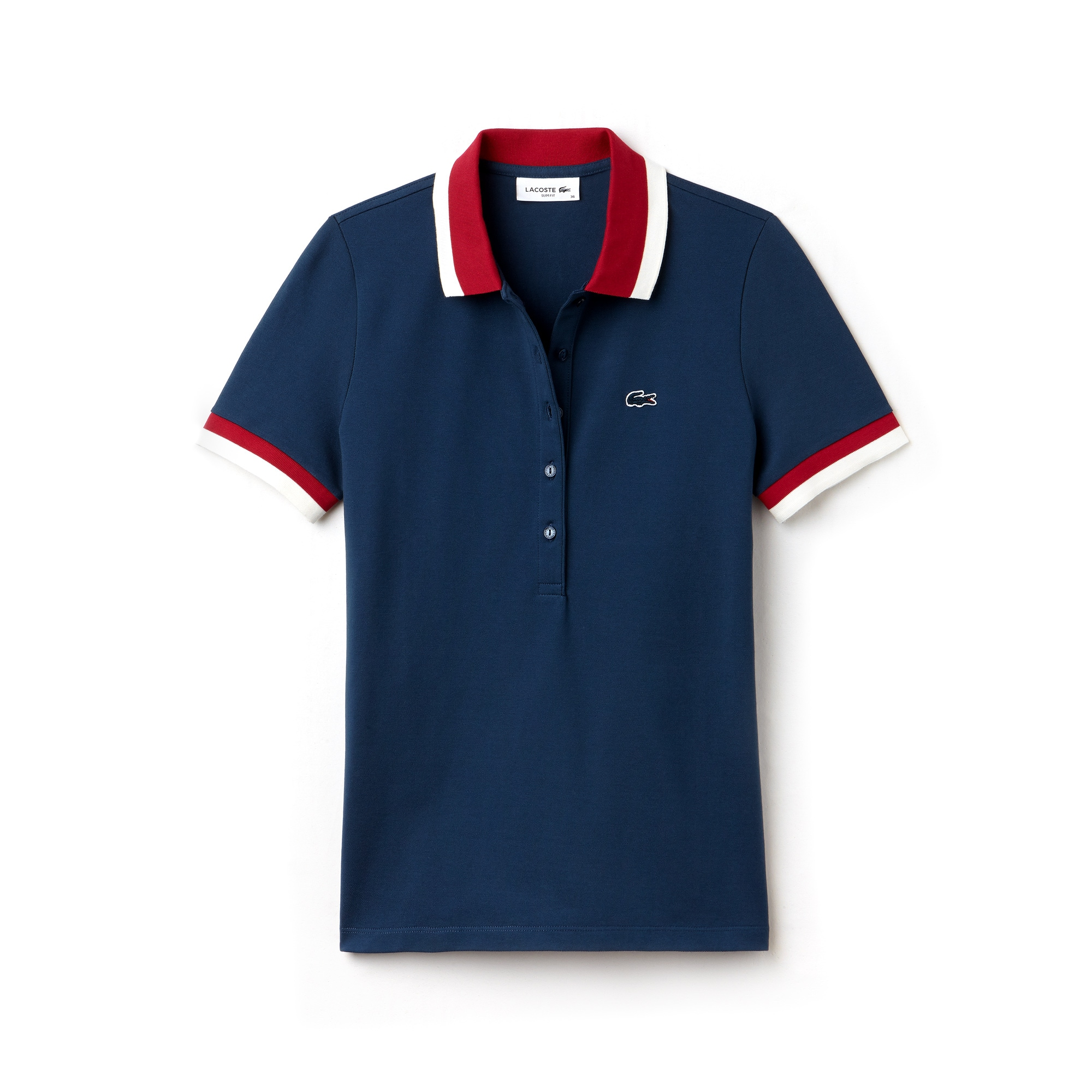 라코스테 Lacoste Womens Slim Fit Bicolor Finishes Stretch Mini Pique Polo,blue / red / white