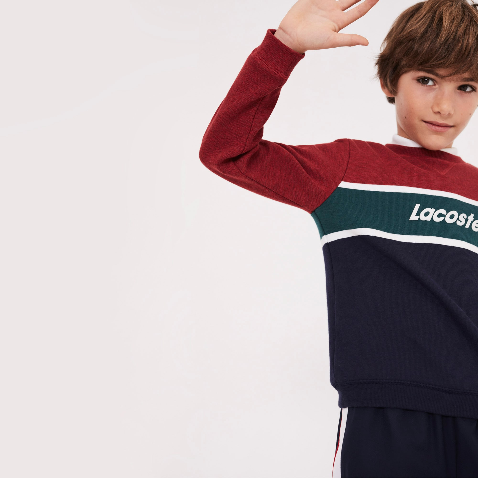 Boys' Crew Neck Lettering Colorblock Jersey Sweater
