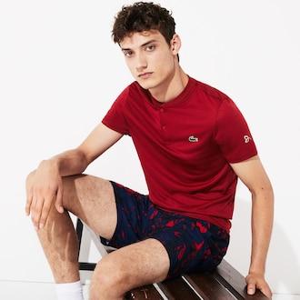 라코스테 스포츠 폴로 셔츠 Lacoste Mens SPORT Novak Djokovic Tech Jersey Polo,Red / Bordeaux
