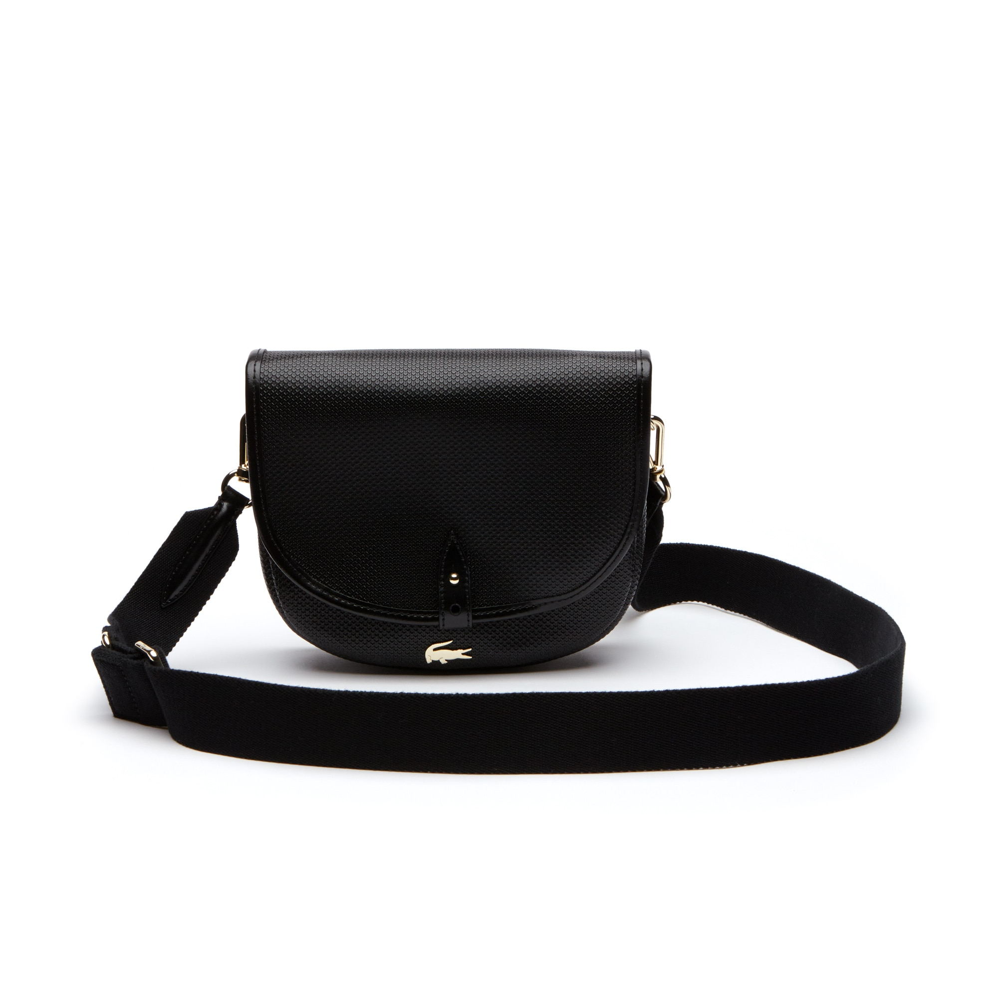 Women'S Chantaco Piqué Leather Flap Crossover Bag in Black from Lacoste