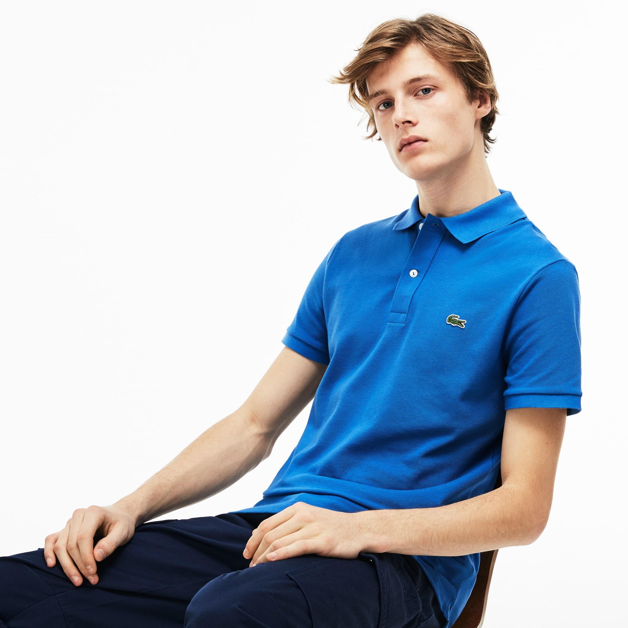 Lacoste Mens Petit Piqu Slim Fit Polo Shirt In Blue Modesens