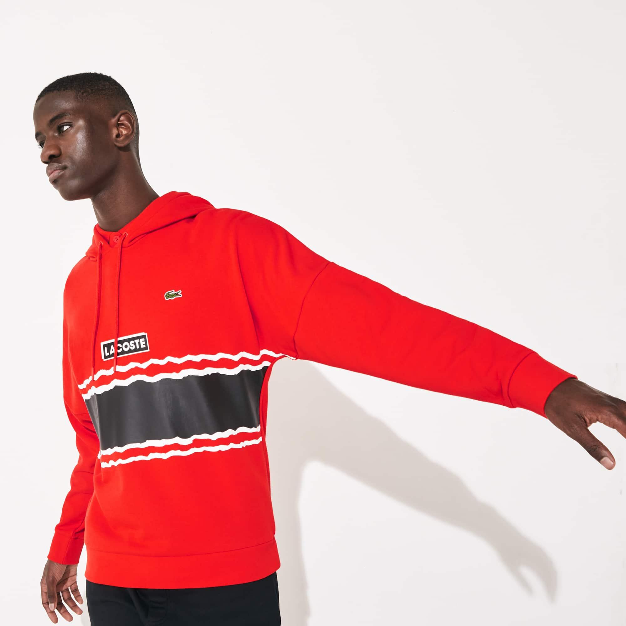 라코스테 후드티 Lacoste Men's SPORT Logo and Banded Stripe Hoodie,Red / Black / White - ATV