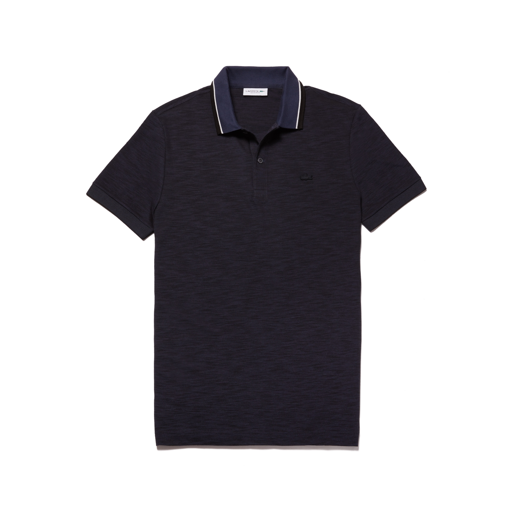 라코스테 Lacoste Mens Regular Fit Piped Neck Flamme Pique Polo,meridian blue/black-flour