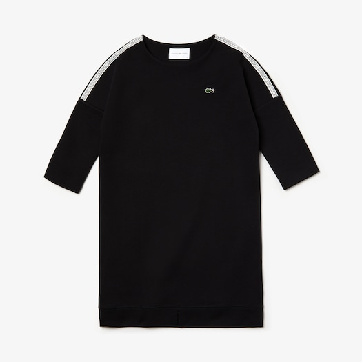 라코스테 우먼 스포츠 테니스 스웻셔츠 원피스 Lacoste Womens SPORT Logo Tennis Sweatshirt Dress,Black / White / Black - 6KJ