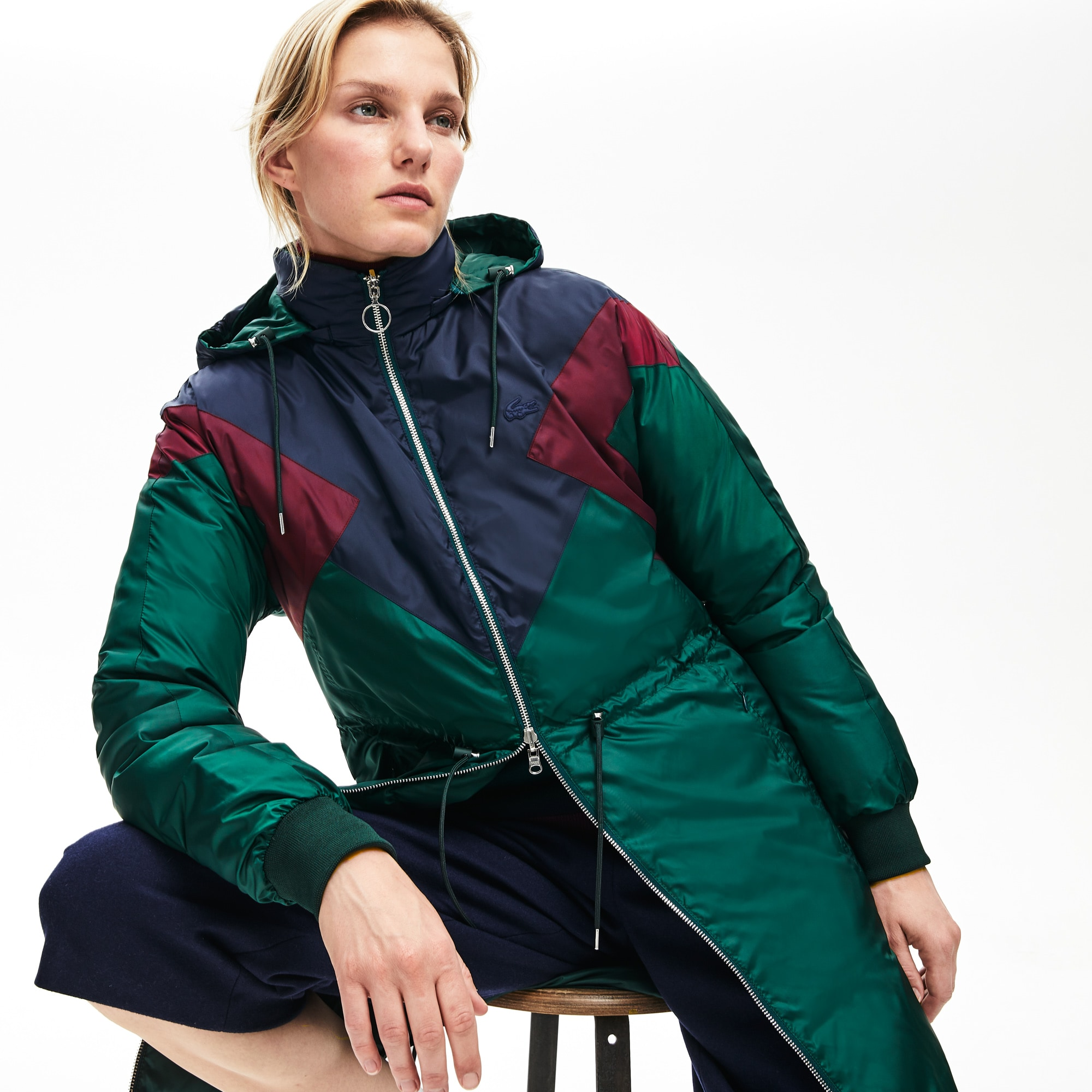 Lacoste Downs Women's Reversible Color-Blocked Water-Resistant Long Quilted Coat