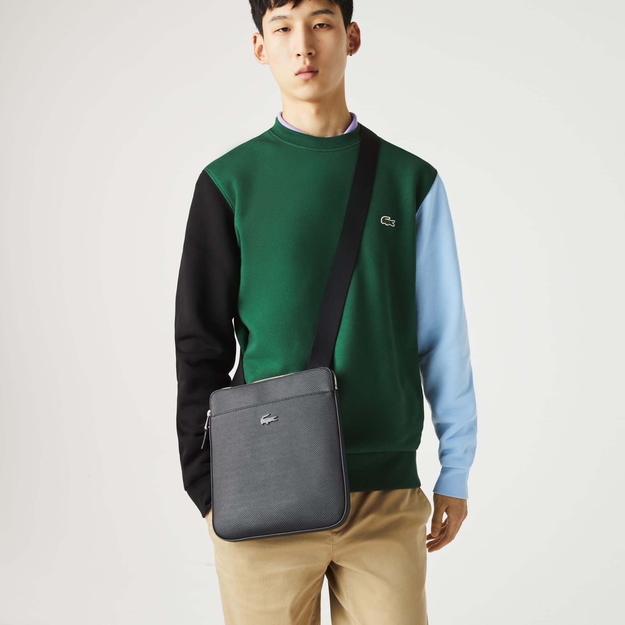 라코스테 Lacoste Mens Chantaco Matte Pique Leather Flat Zip Bag