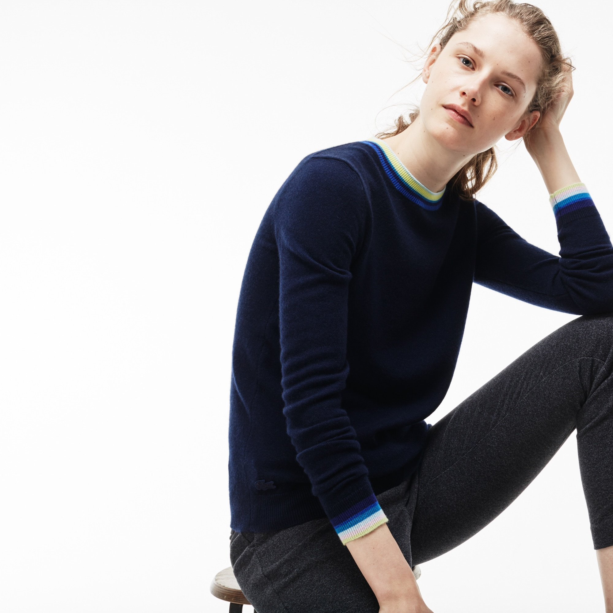 Shop Lacoste Womens Crew Neck Cashmere Jersey Sweater With Striped