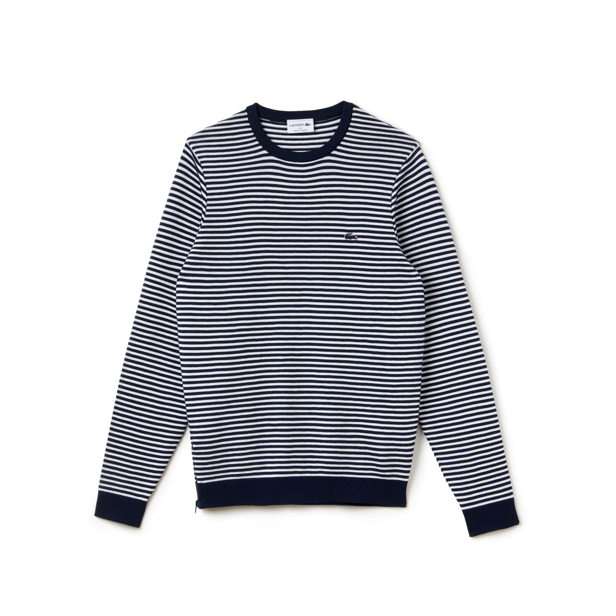 Men's Made in France Crew Neck Striped Cotton Zip Sweater