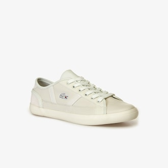 라코스테 맨 사이드라인 가죽 스니커즈 - 오프 화이트 Lacoste Mens Sideline Leather and Synthetic Sneakers,OFF WHITE/OFF WHITE