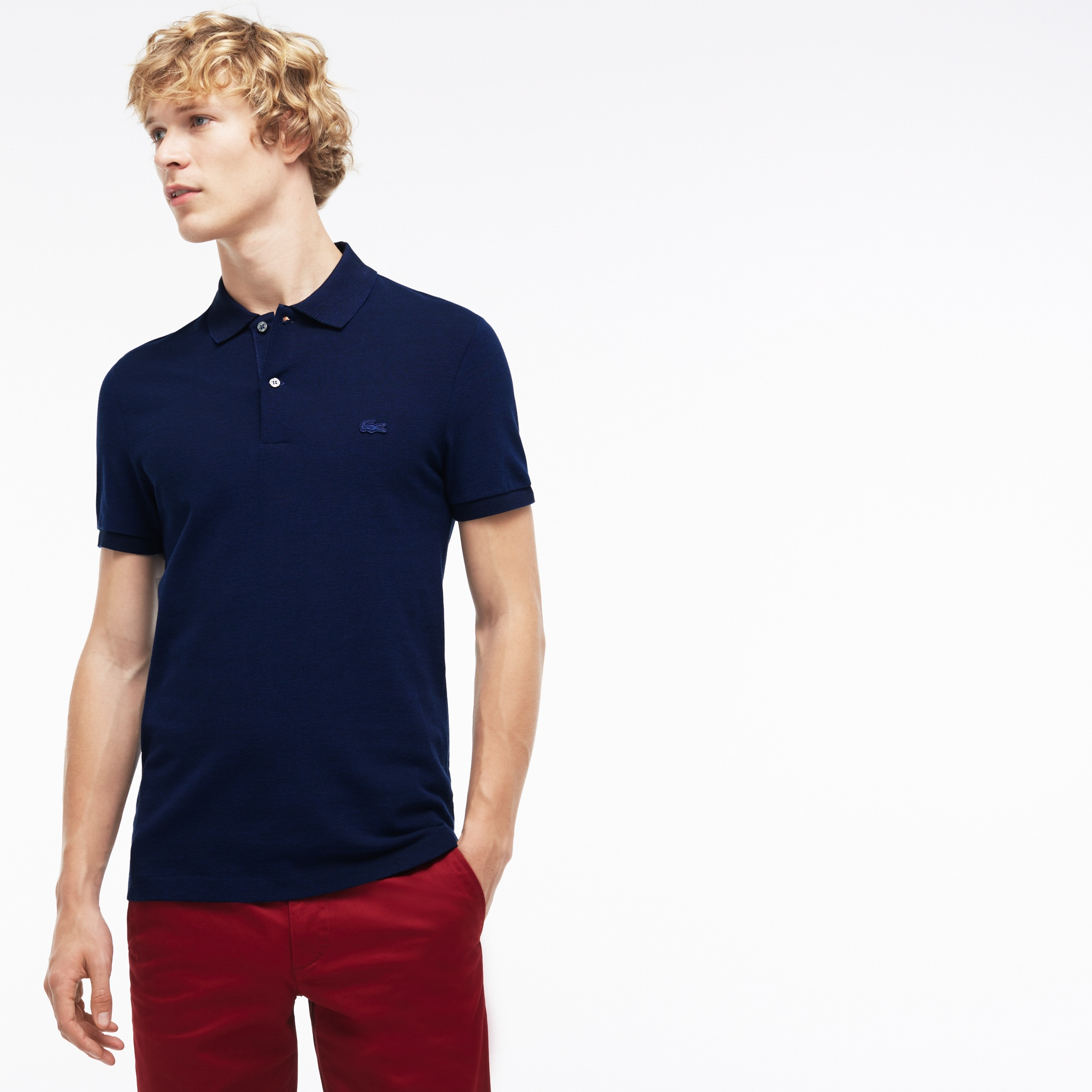 Men's  Slim Fit Bicolor Caviar Piqué Polo
