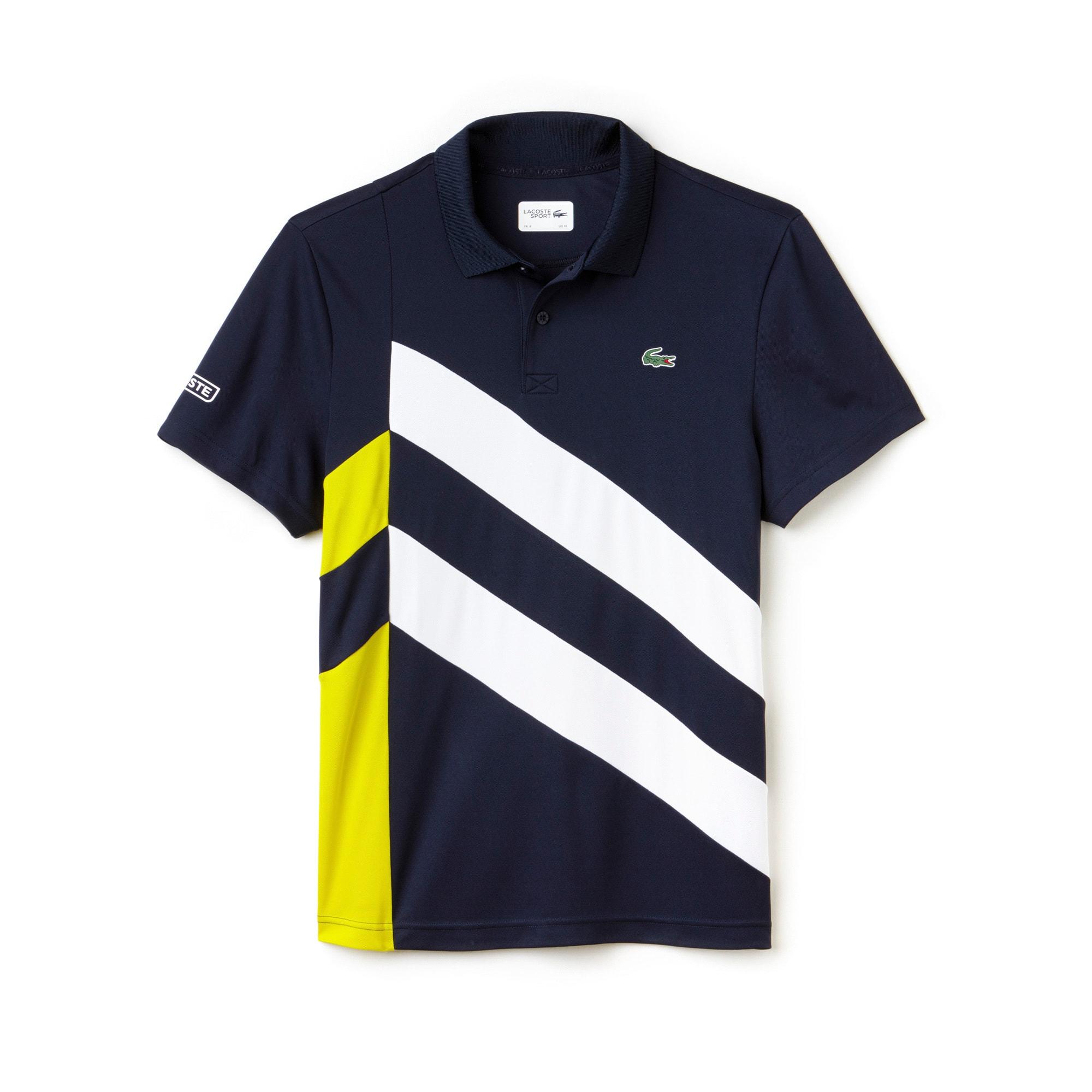 라코스테 Lacoste Mens SPORT Tennis Colorblock Band Tech Pique Polo,Navy Blue / White / Yellow