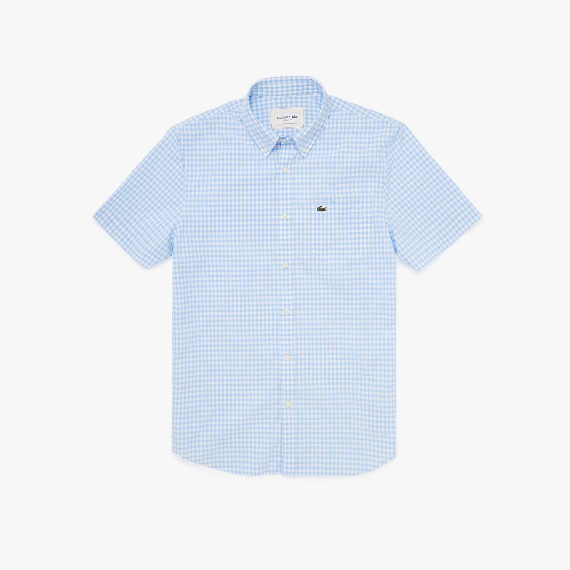 Lacoste Mens Regular Fit Gingham Poplin Shirt
