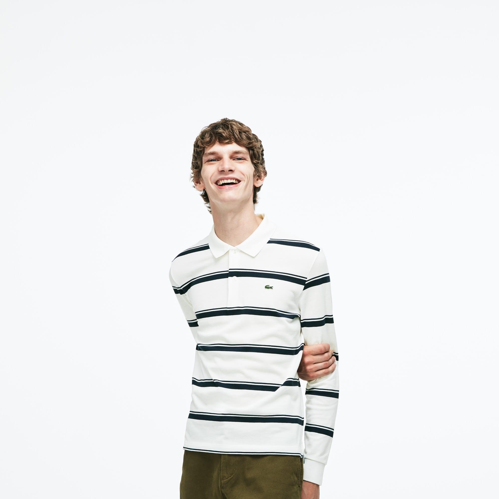 Men's Regular Fit Striped Petit Piqué Polo