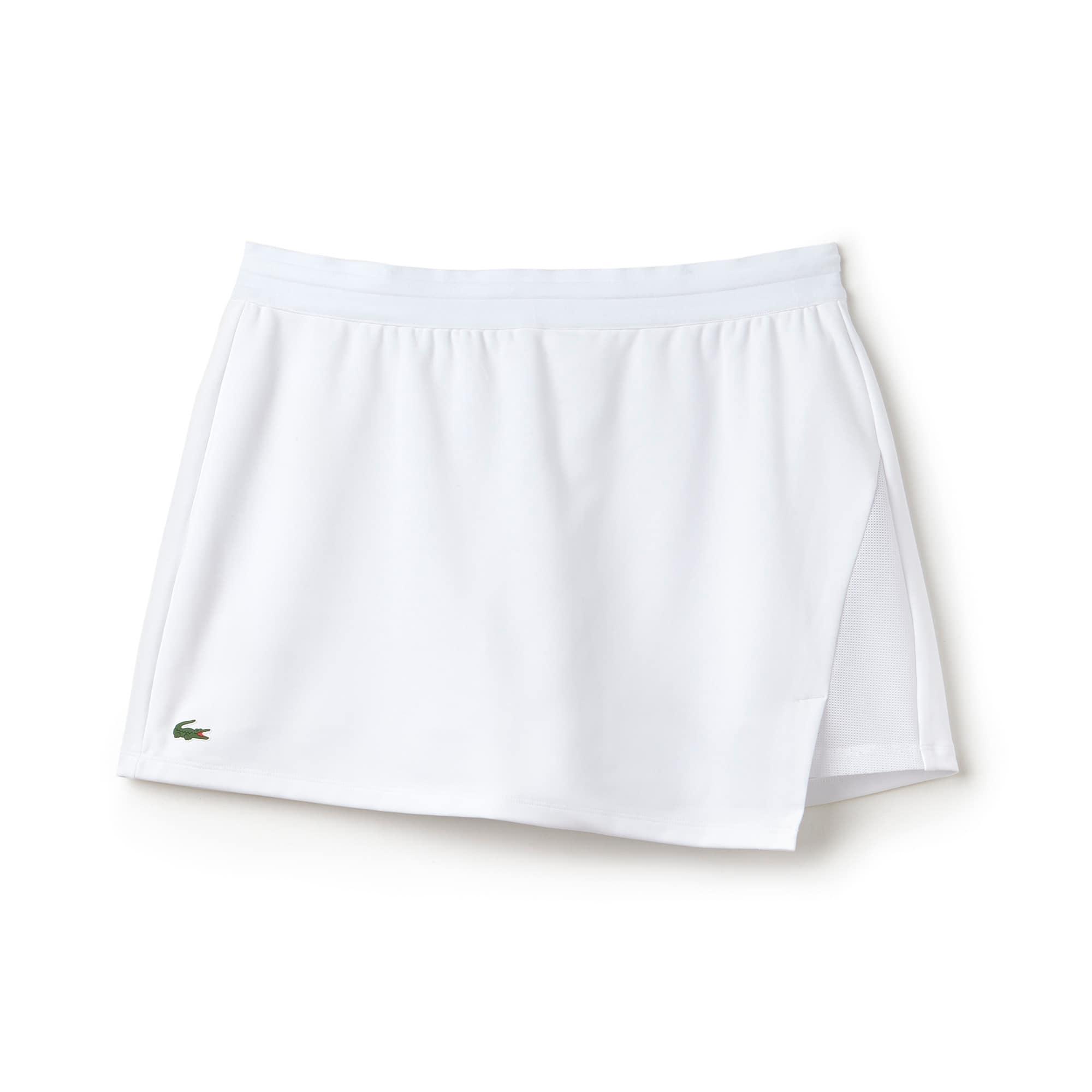 라코스테 Lacoste Womens SPORT Tennis Technical Jersey Wraparound Skirt,WHITE