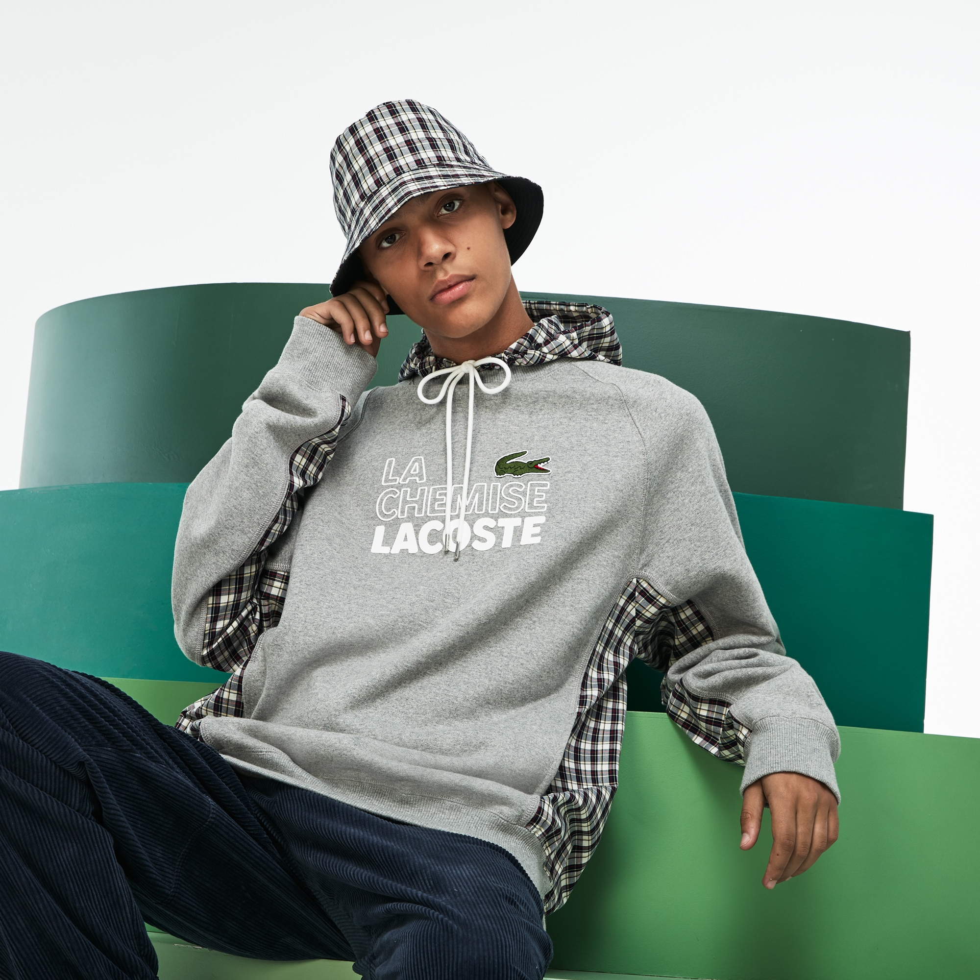 Men's Fashion Show 2-in-1 Fleece And Check Poplin Sweatshirt