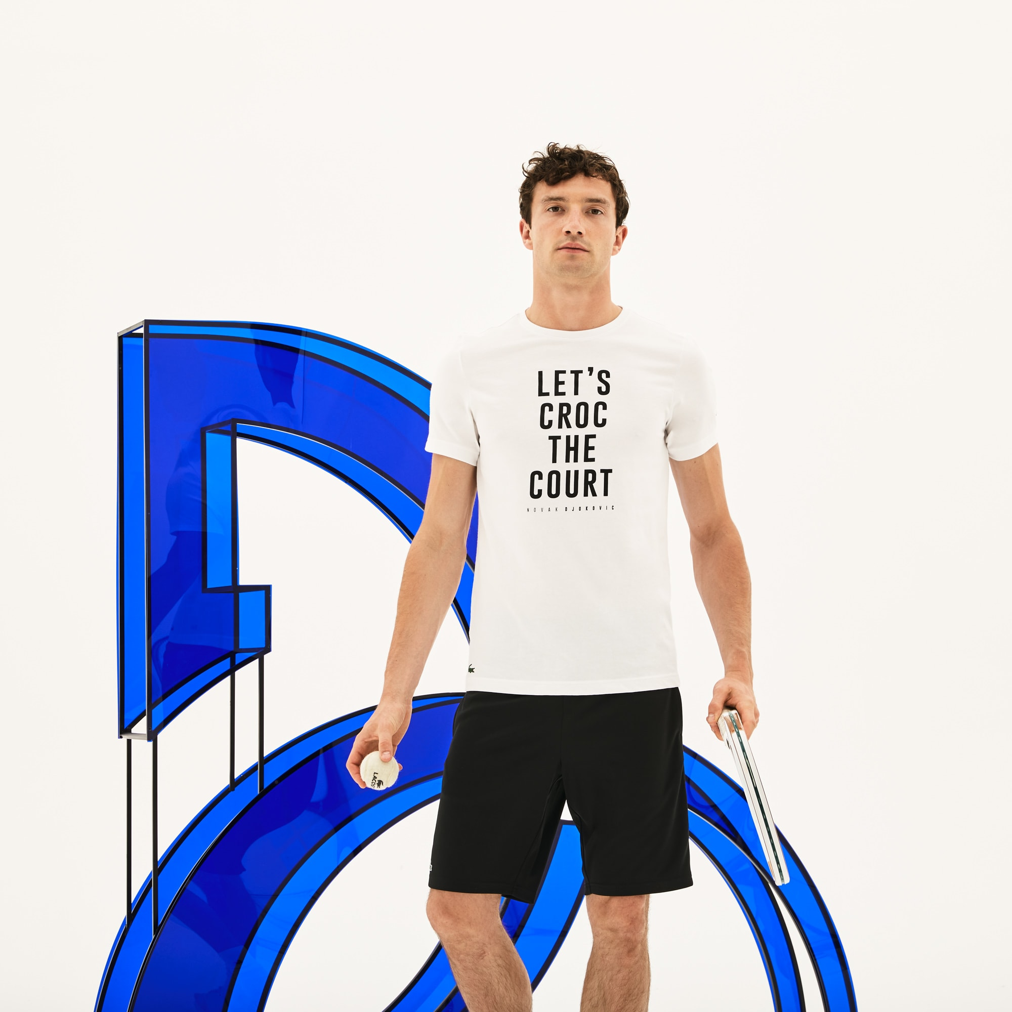 Men's SPORT Crew Neck Lettering Technical Jersey T-shirt -  x Novak Djokovic Support With Style - Off Court Collection