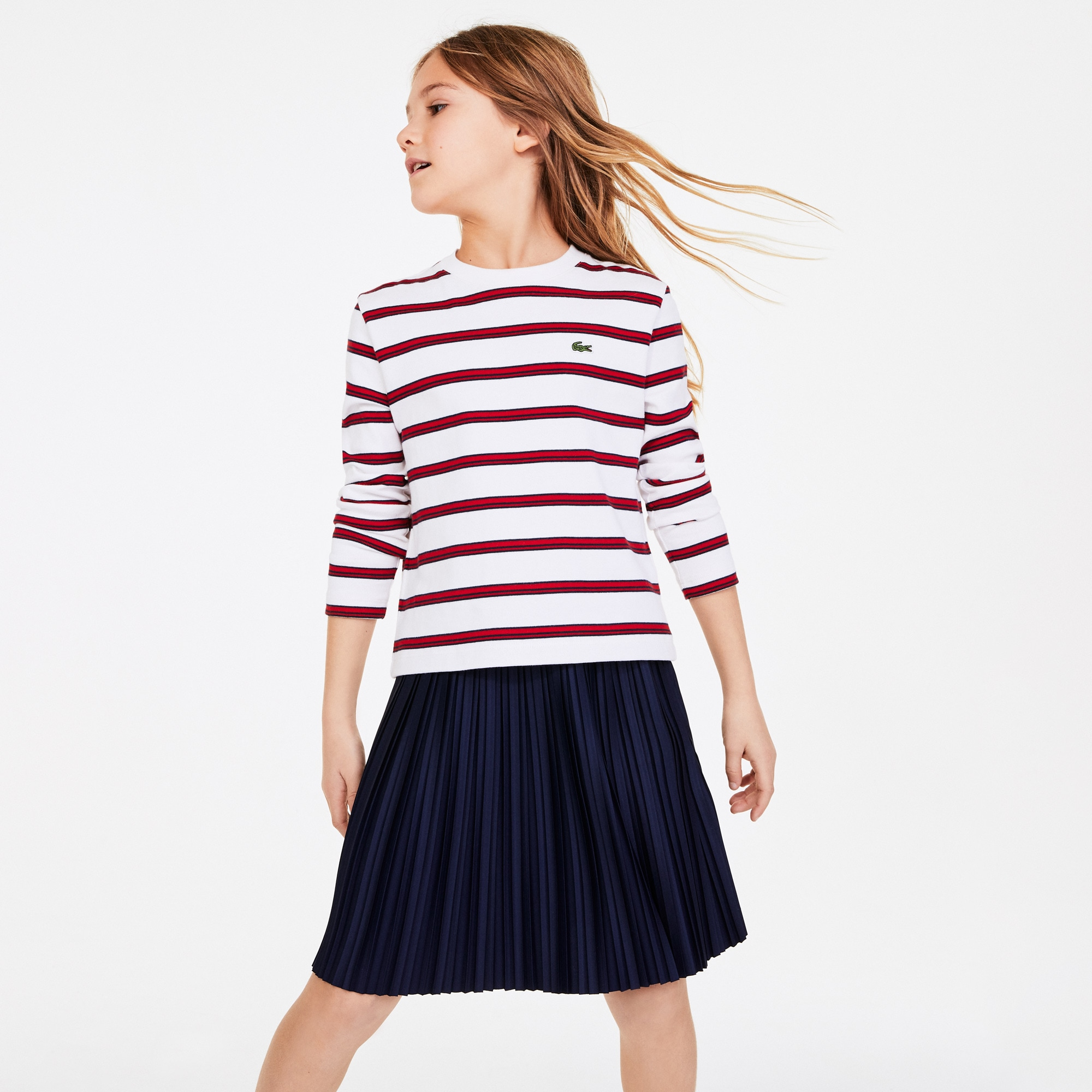 Lacoste Girls Print Thick Cotton Nautical Top