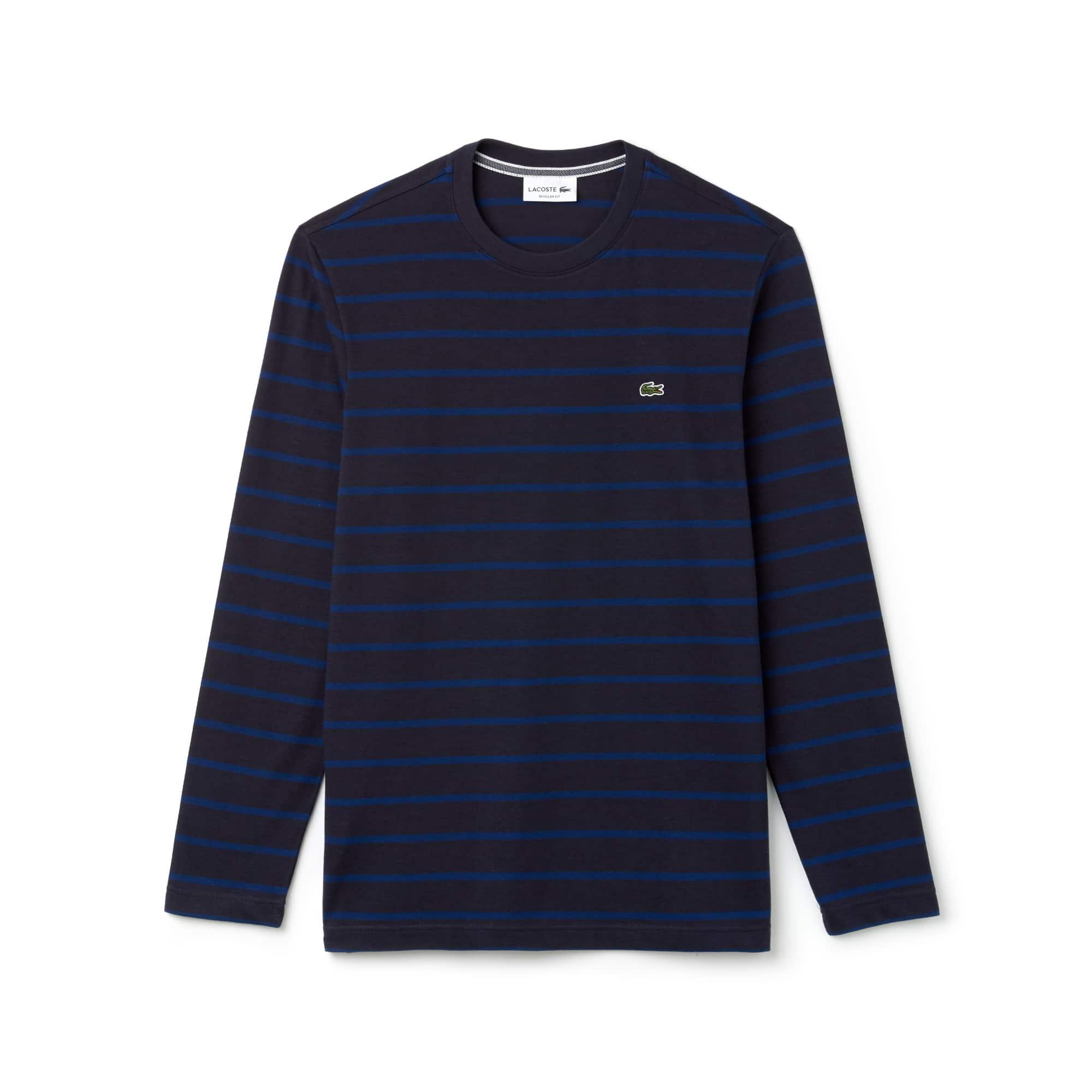 라코스테 Lacoste Mens Crew Neck Striped Jersey T-shirt,blue / navy blue