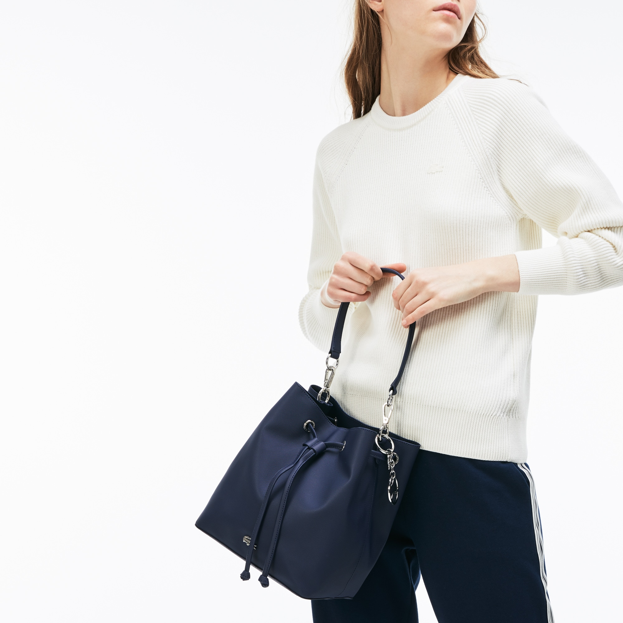 7b87d58131 Lacoste Women's Daily Classic Coated PiquÉ Canvas Bucket Bag In Peacoat