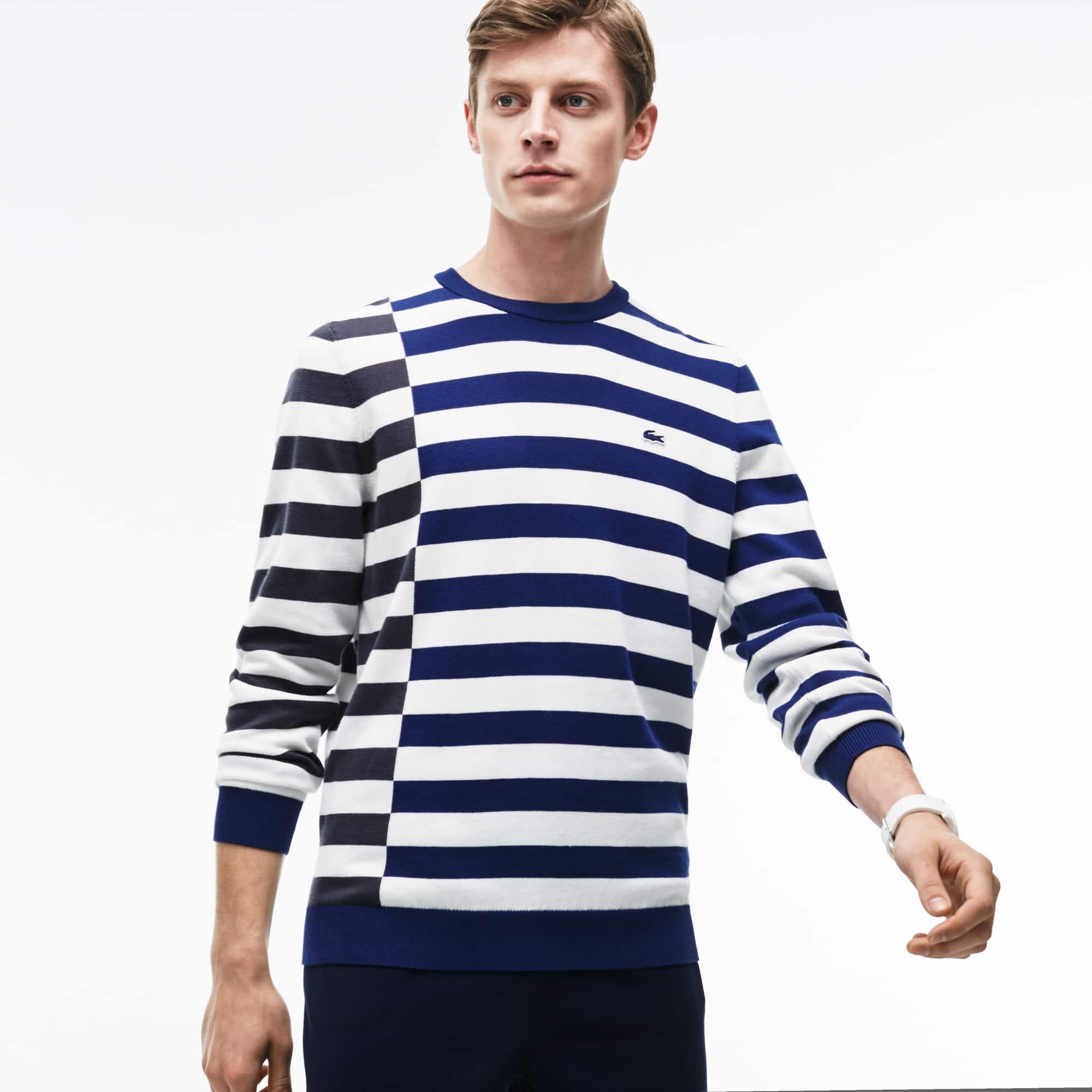 Men's Crew Neck Off-Center Stripes Cotton T-shirt