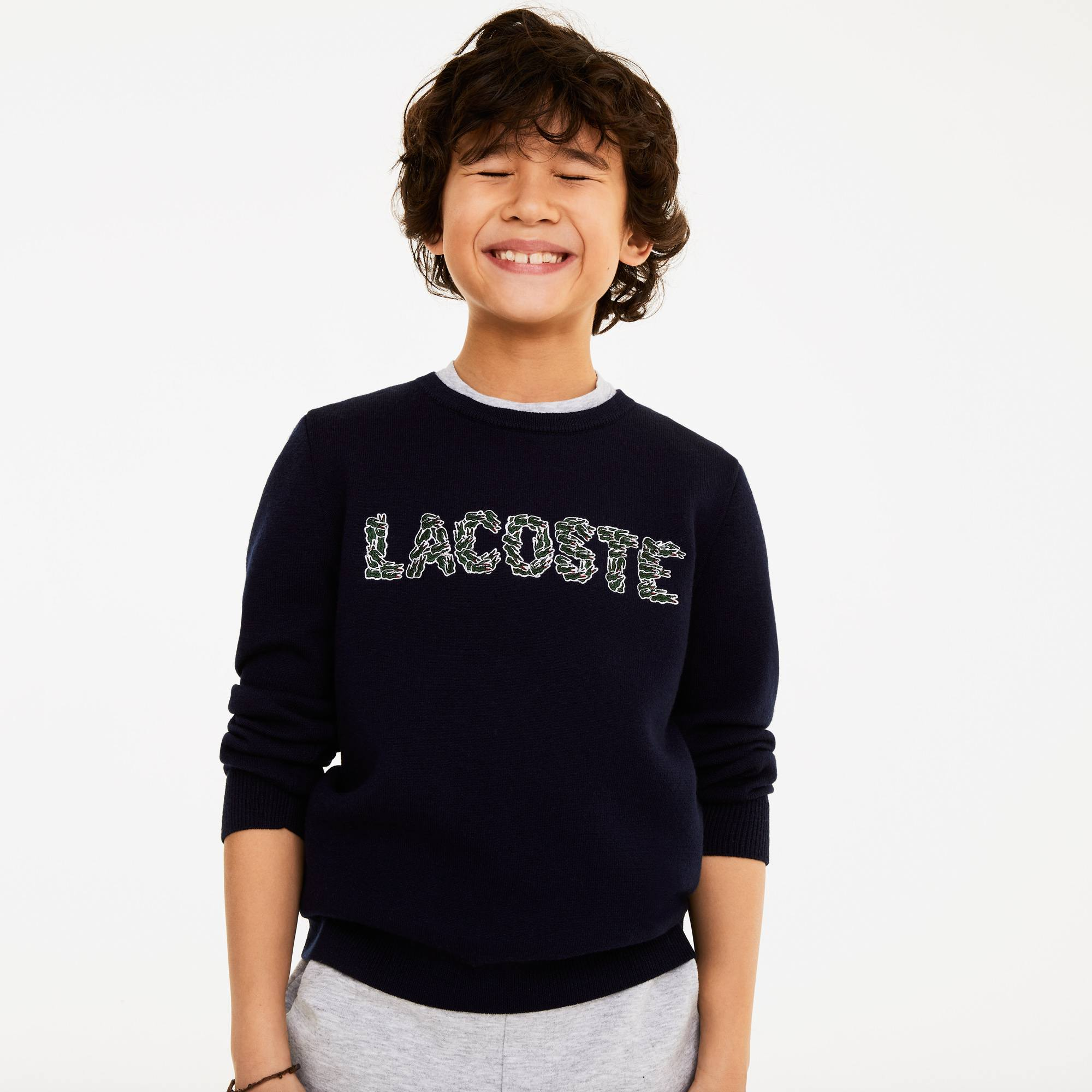 Boys' Embroidered Croco Magic Wool And Cotton Sweater