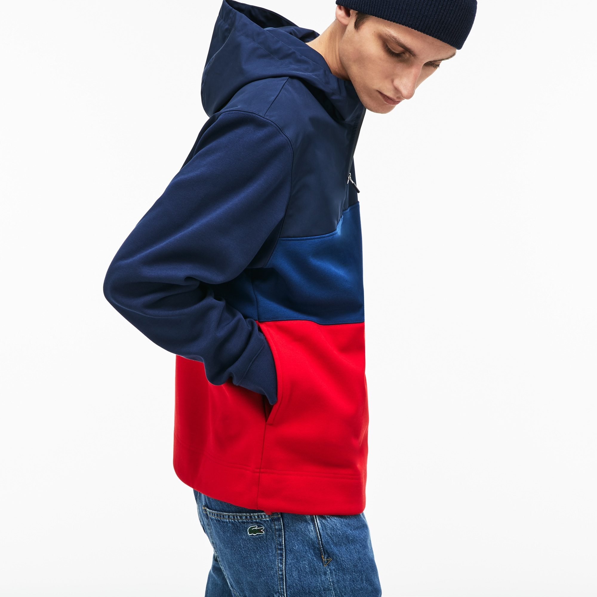 Men's Hooded Colorblock Fleece Jersey Sweatshirt