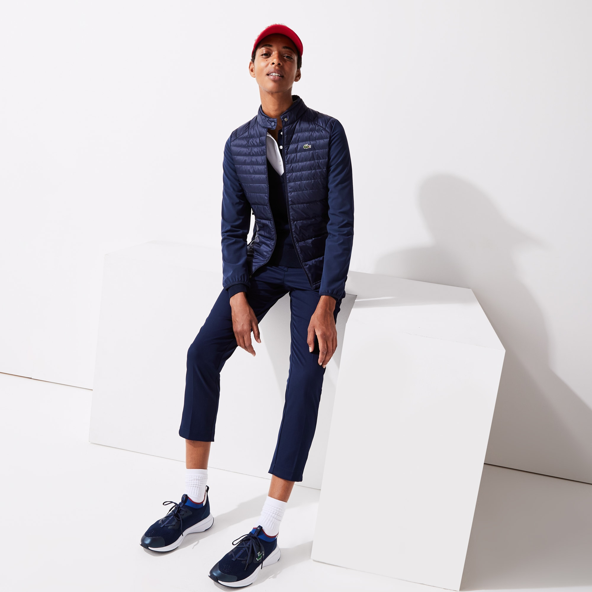라코스테 스포츠 골프 방수 퀼팅 자켓 - 네이비 Lacoste Women's SPORT Water-Resistant Down-Filled Puffer Jacket