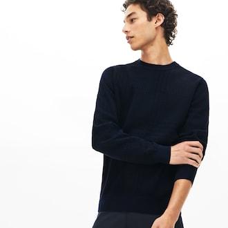라코스테 하운드투스 코튼 캐시미어 스웨터 - 네이비 Lacoste Mens Crewneck Houndstooth Cotton And Cashmere Sweater AH8388