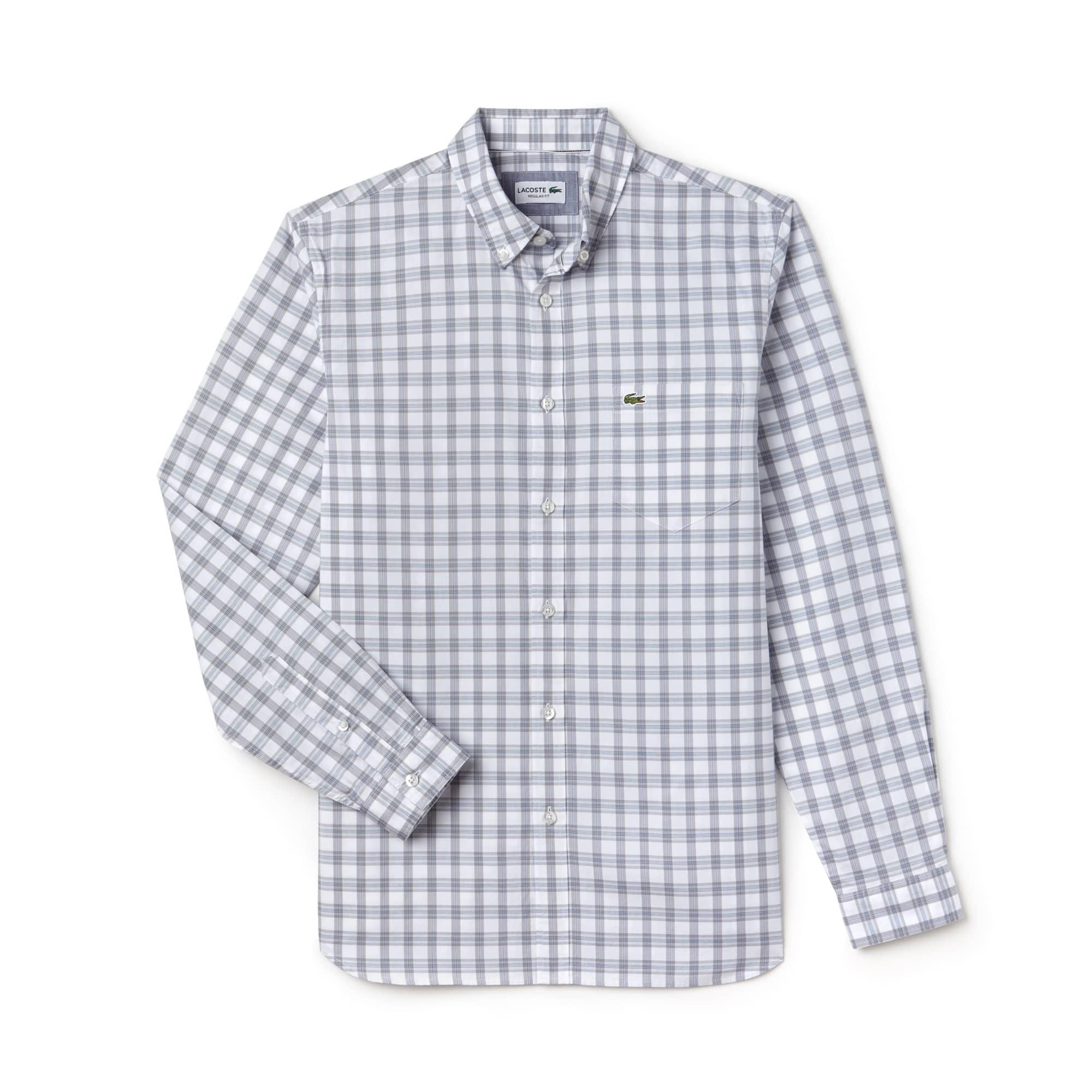 Men's Regular Fit Check Oxford Cotton Shirt