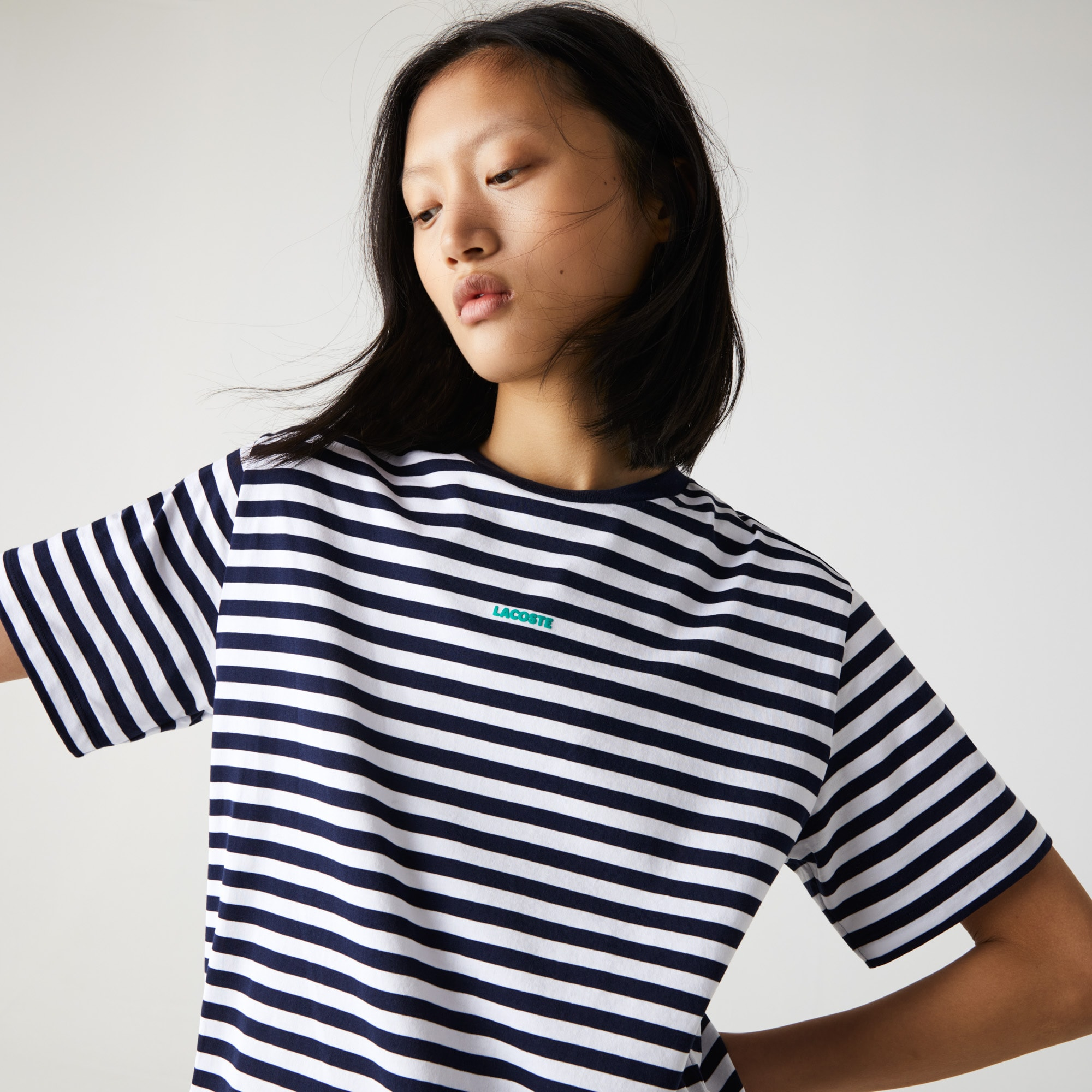 Lacoste Womens Crew Neck Branded Striped Cotton T-shirt
