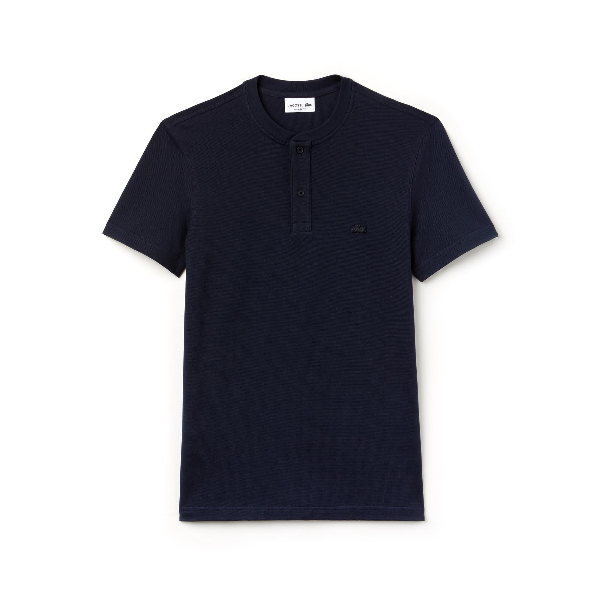 Men's Buttoned Contrast Knit T-Shirt