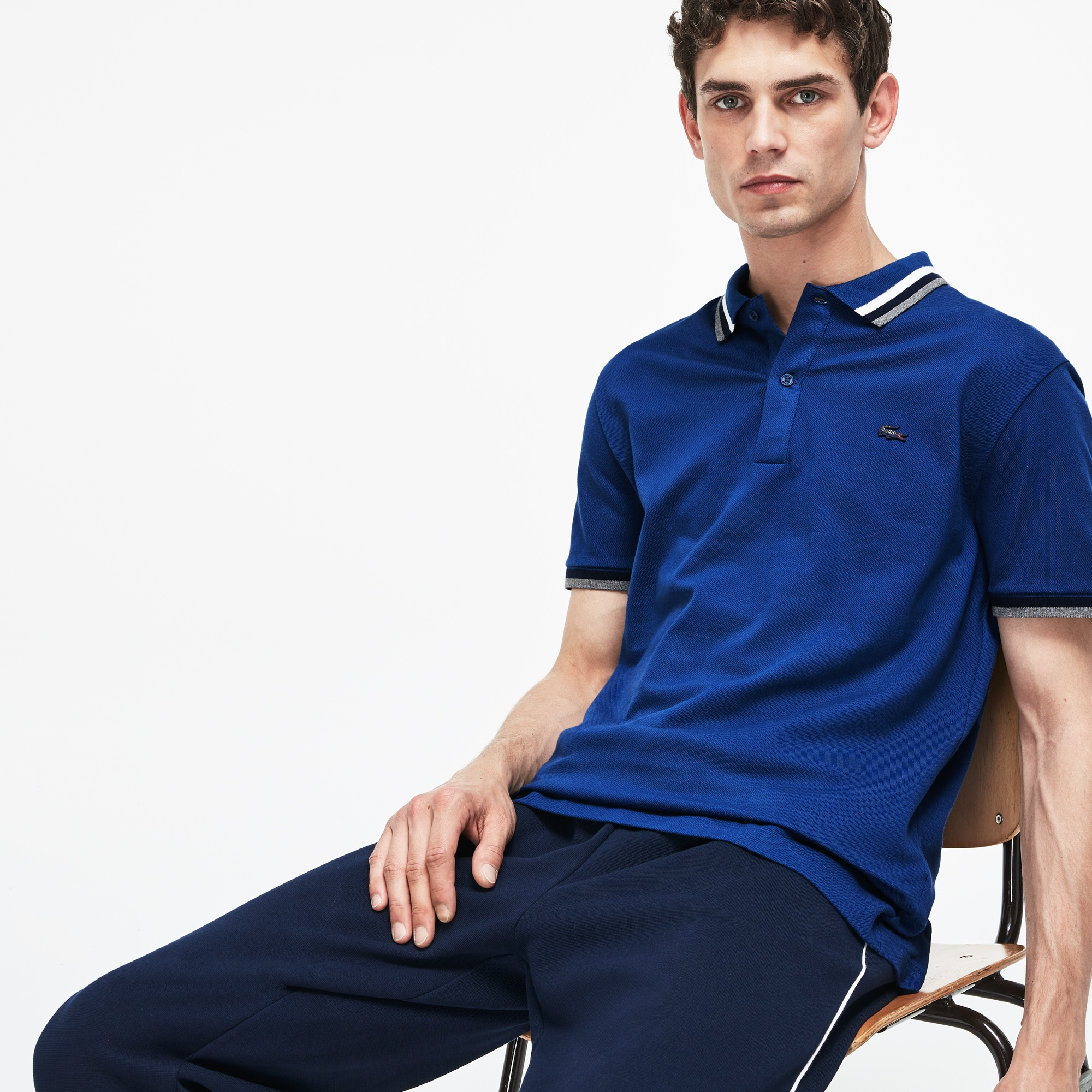 Men's Slim Fit Contrast Accents Stretch Pima Piqué Polo