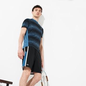 라코스테 Lacoste Mens SPORT Taffeta Tennis Shorts,Black / Blue / White - 6WB