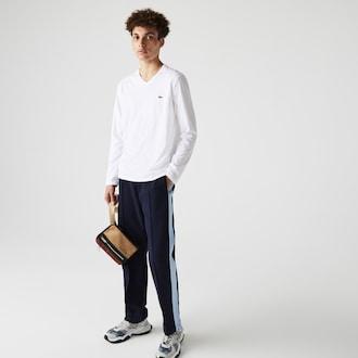 라코스테 Lacoste Mens V-Neck Pima Cotton Jersey T-shirt,White