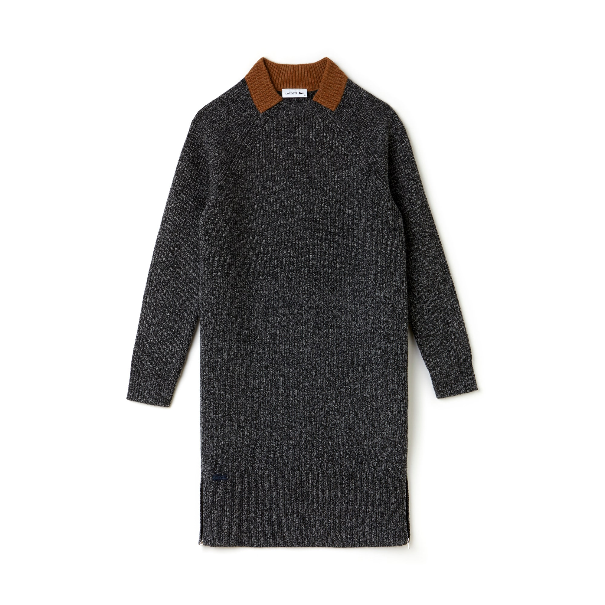 Women's Ribbed Wool Zippered Sweatshirt Dress