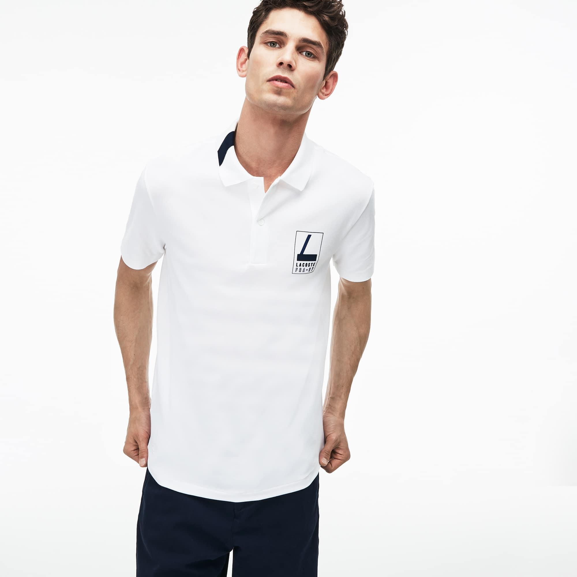 Men's Slim Fit Lettering Stretch Mini Piqué Polo
